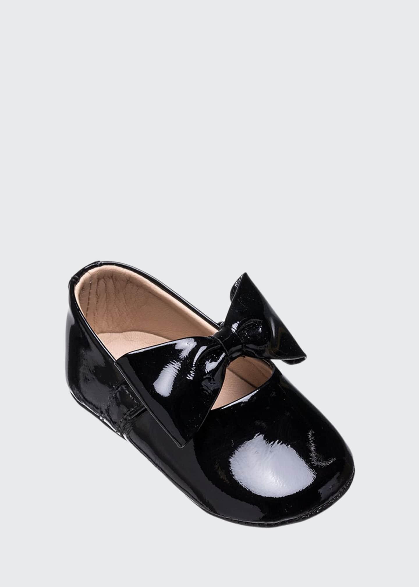 Elephantito Leather Ballet Flat w/ Bow, Baby