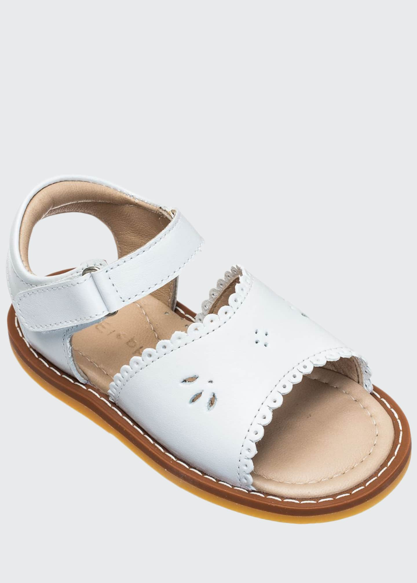 Elephantito Girls' Classic Leather Scalloped Sandal, Toddler/Kids
