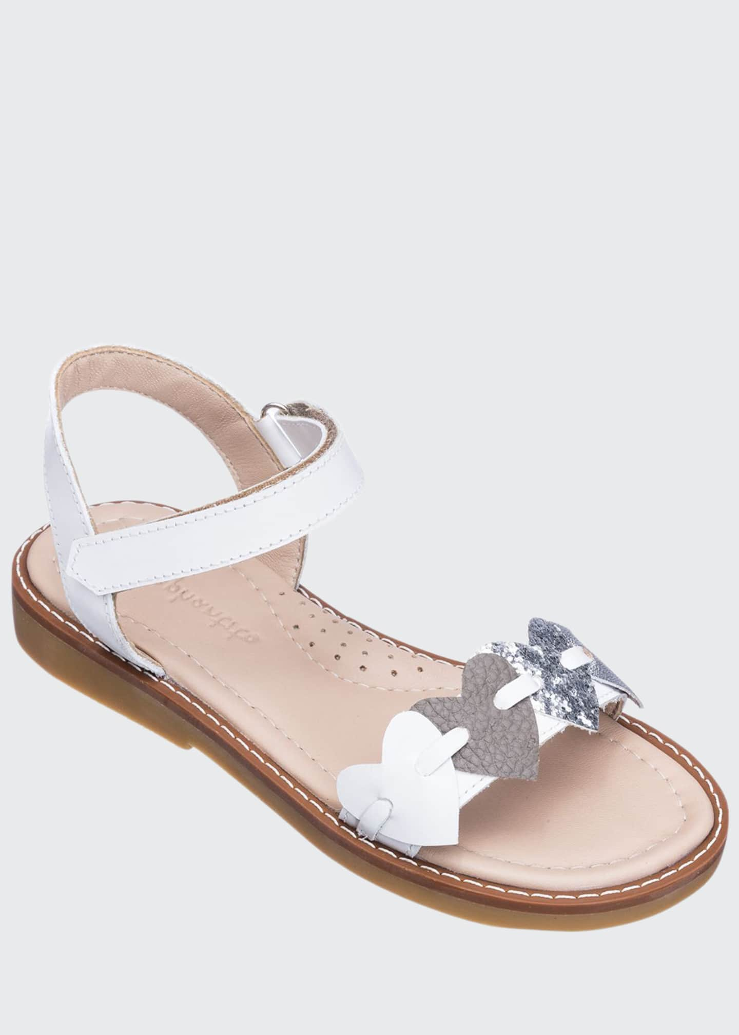 Elephantito Girls' Leather Heart Sandals, Toddler/Kids