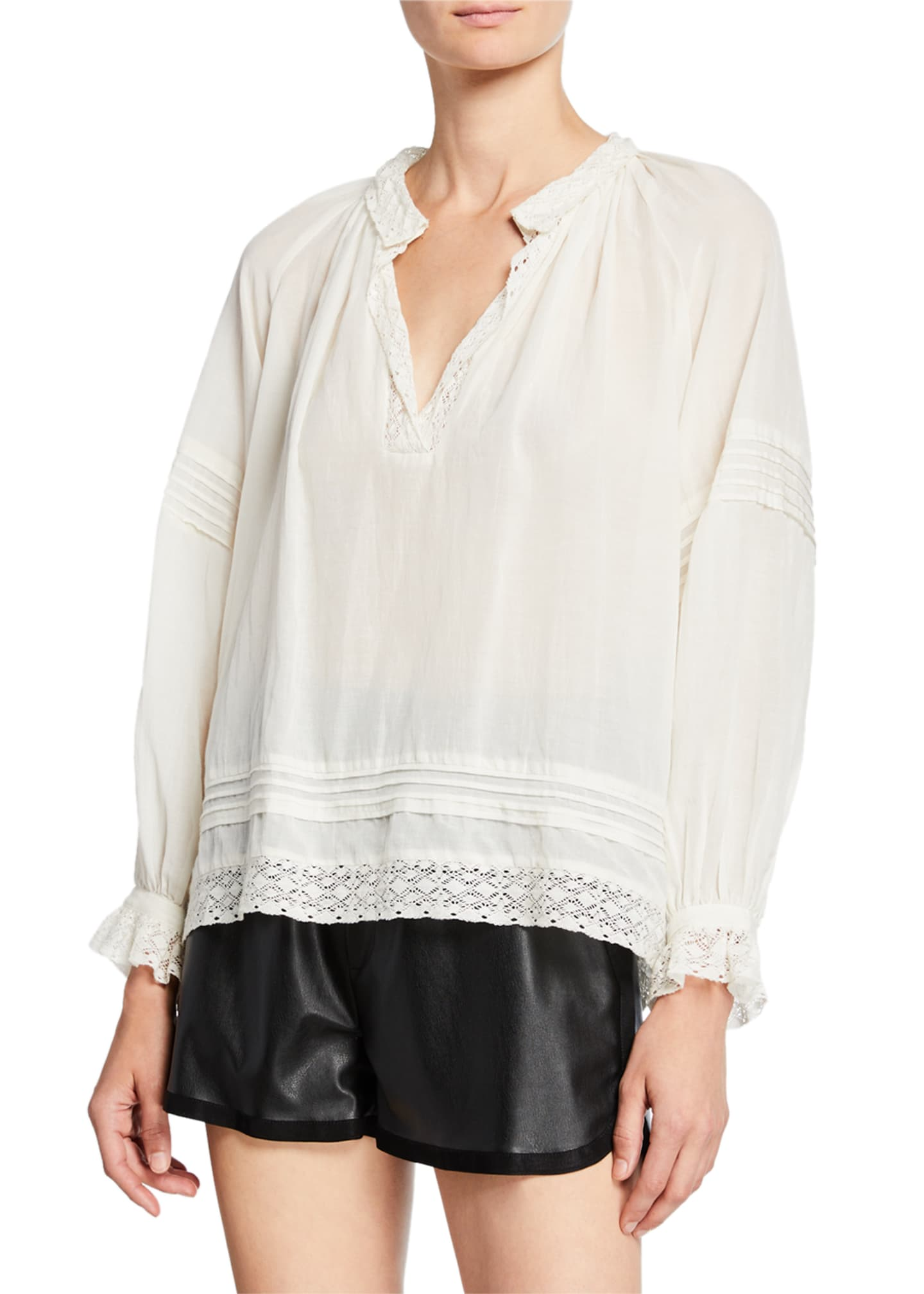 Sea Viola Long-Sleeve Pintuck Blouse with Lace