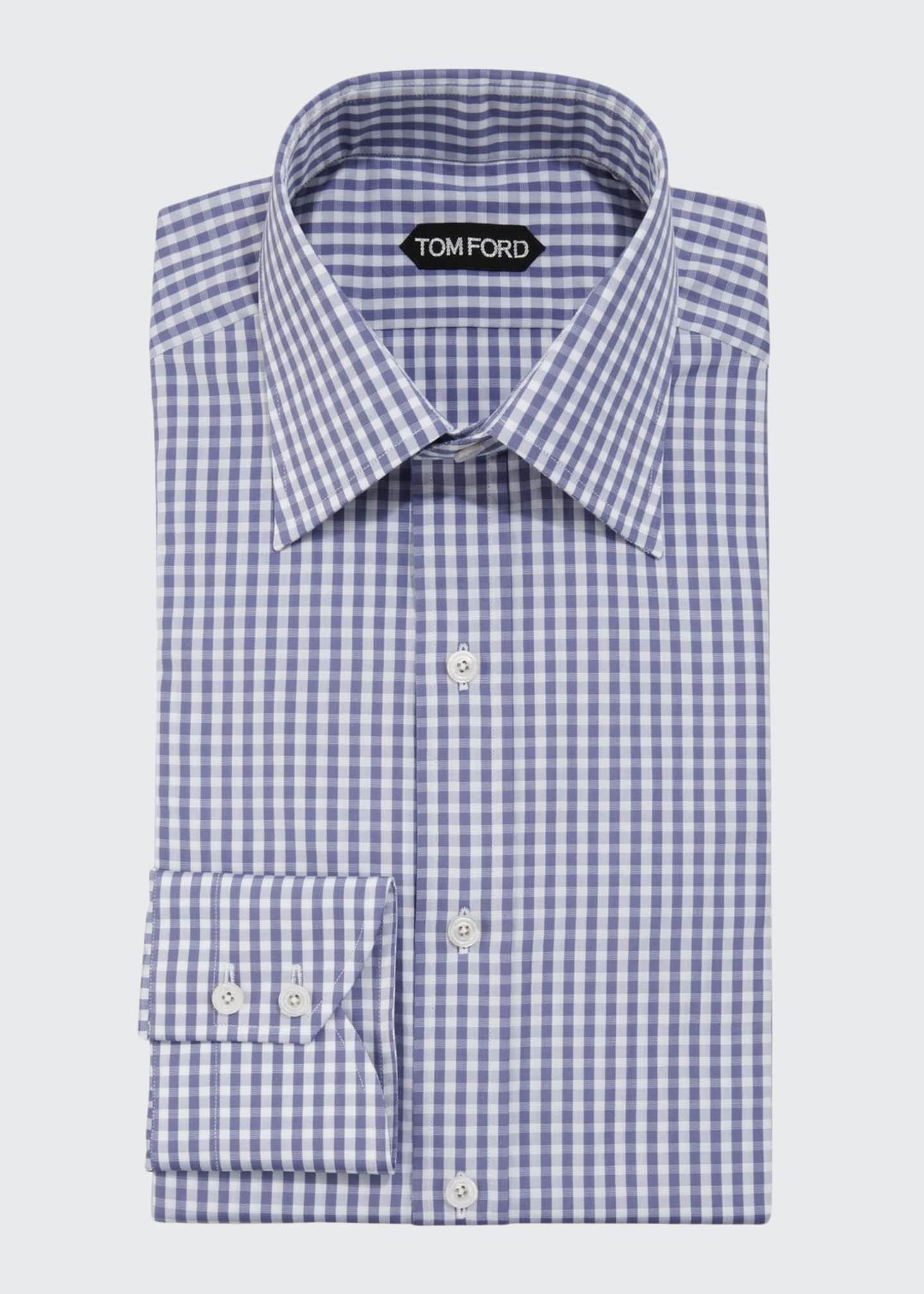 TOM FORD Men's Gingham Check Dress Shirt