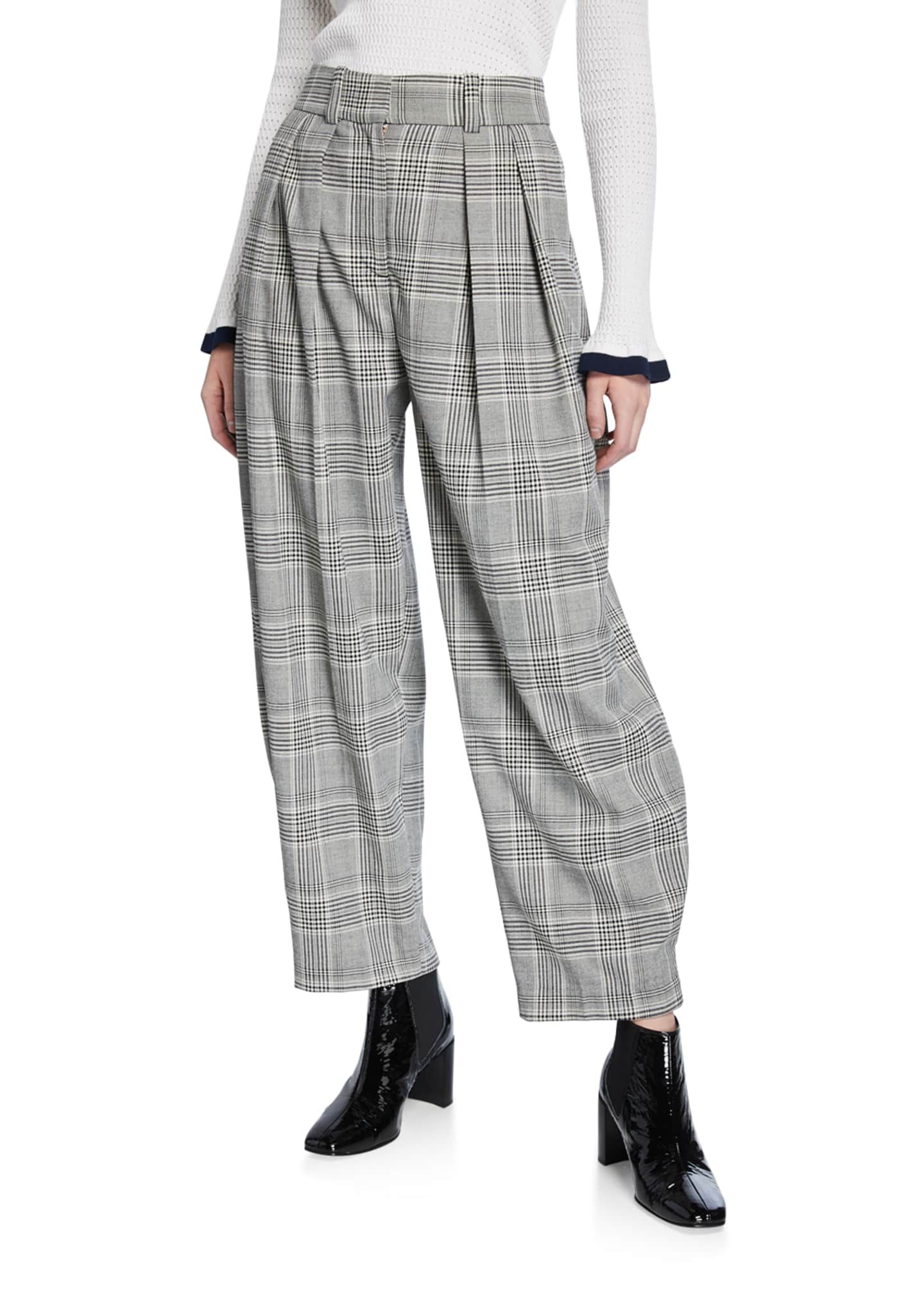 See by Chloe Gathered Check Pleated Trousers