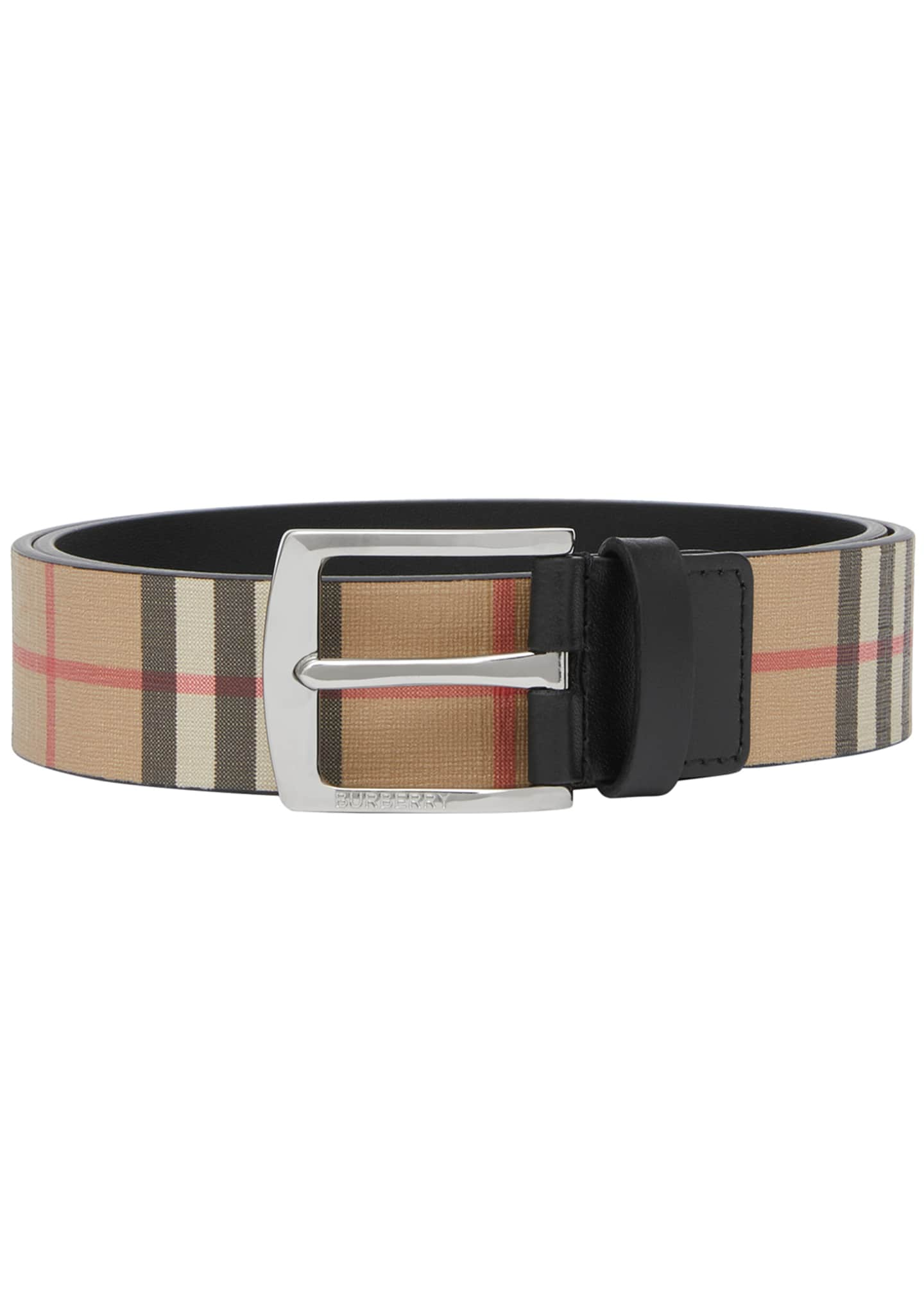 Burberry Men's Signature Check Leather Belt