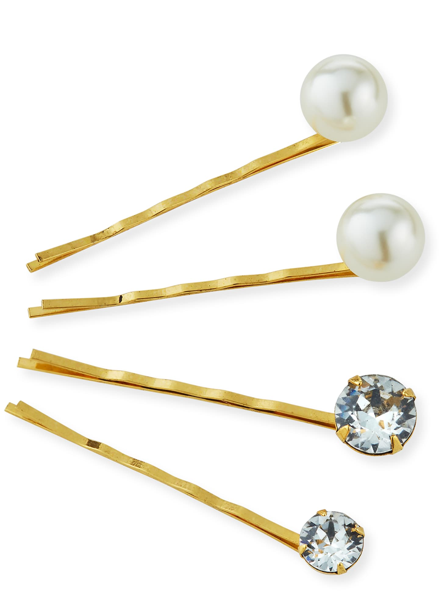 Image 3 of 3: Gigi Crystal & Pearl Bobby Pins, Set of 4