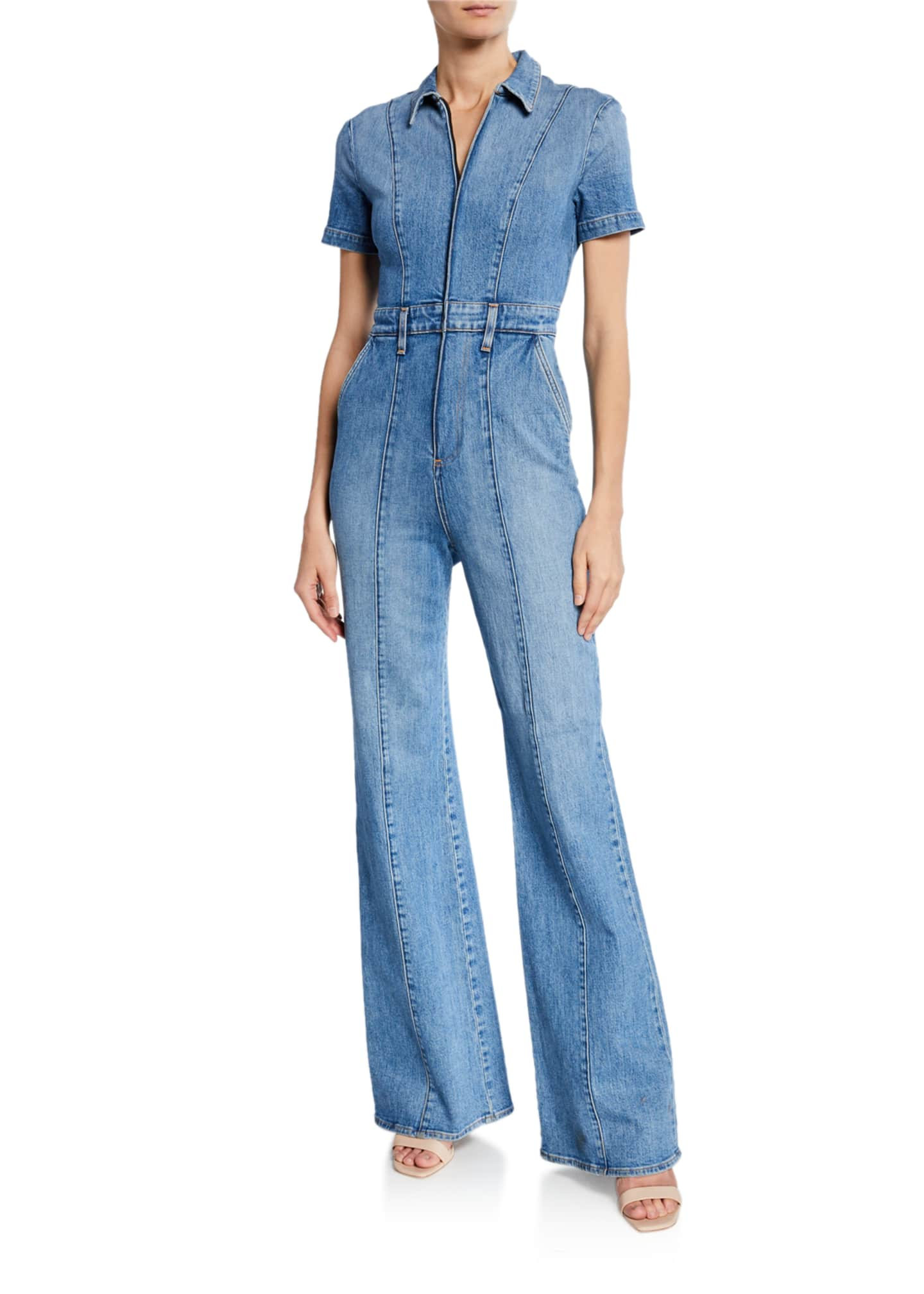 ALICE + OLIVIA JEANS Gorgeous Wide-Leg Fitted Denim