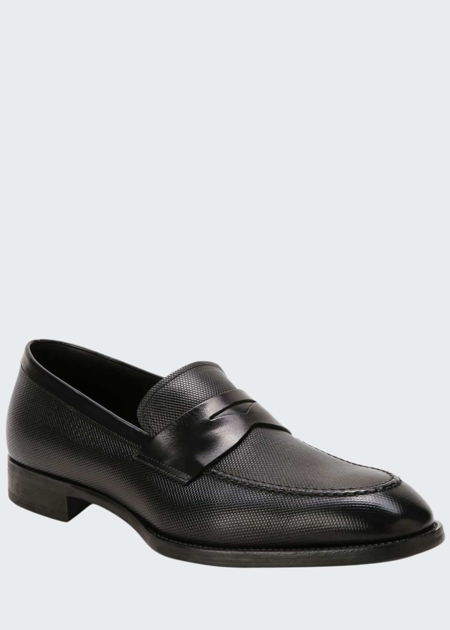 Giorgio Armani Men's Textured Leather Penny Loafers