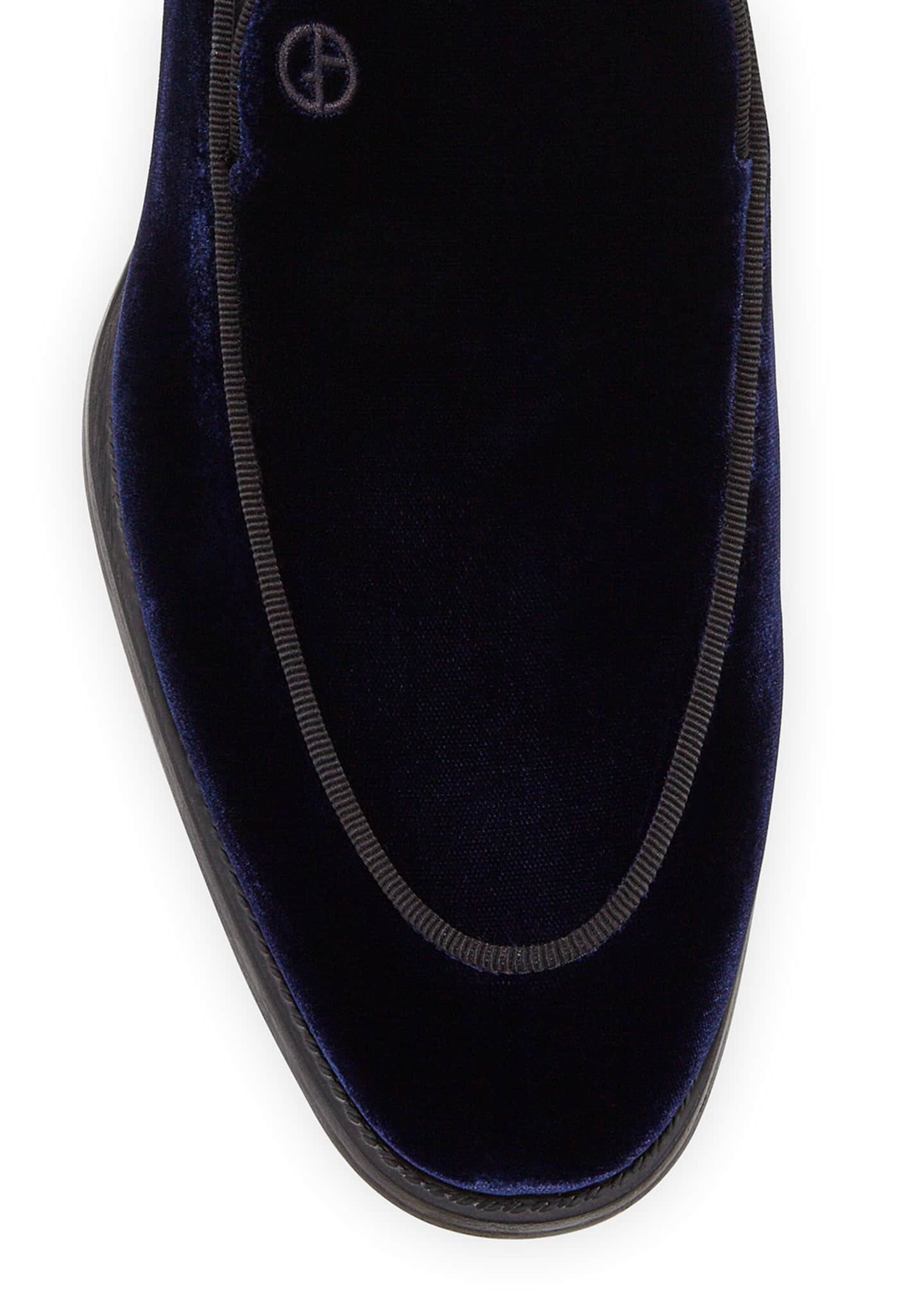 Image 2 of 3: Men's Velvet Formal Loafers, Navy