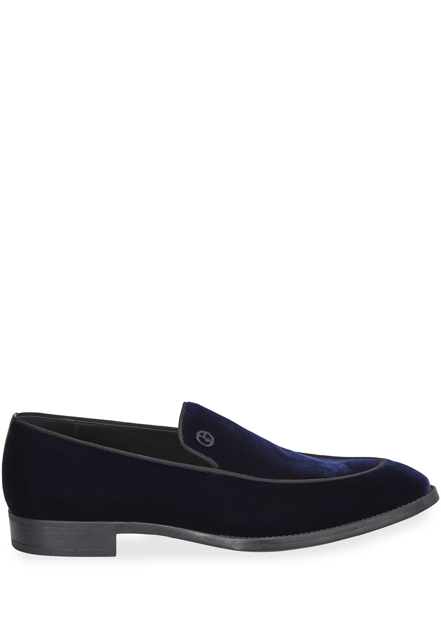 Image 3 of 3: Men's Velvet Formal Loafers, Navy