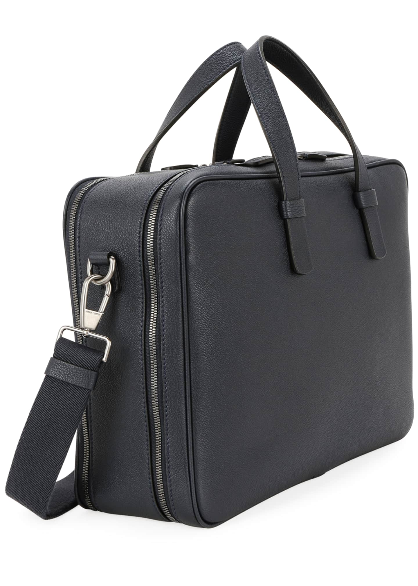 Image 2 of 3: Men's Double-Zip Leather Briefcase Bag