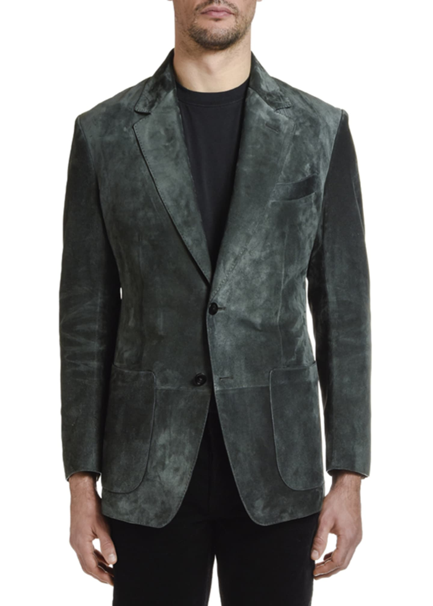 Image 2 of 4: Men's Suede Two-Button Jacket