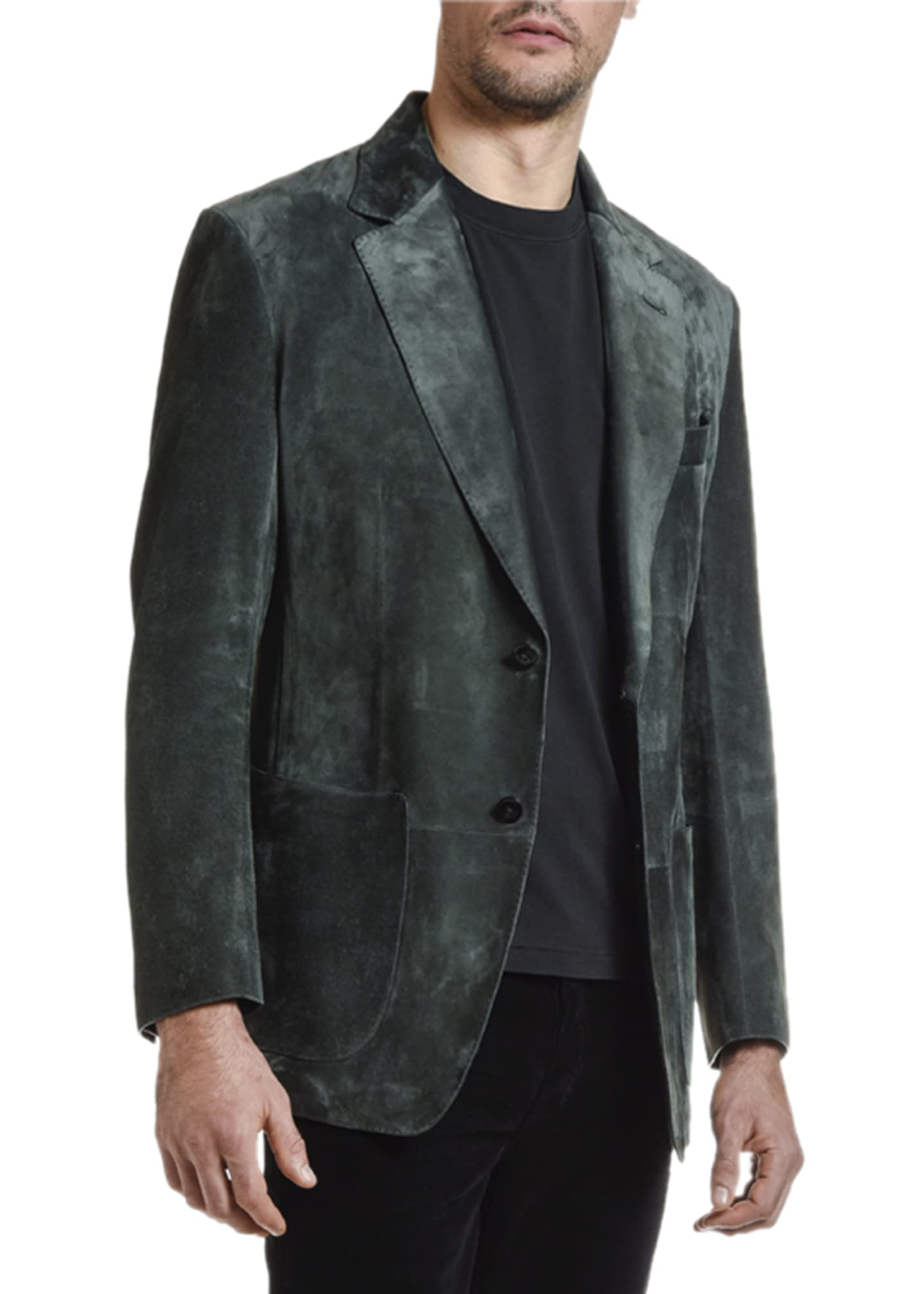 Image 3 of 4: Men's Suede Two-Button Jacket