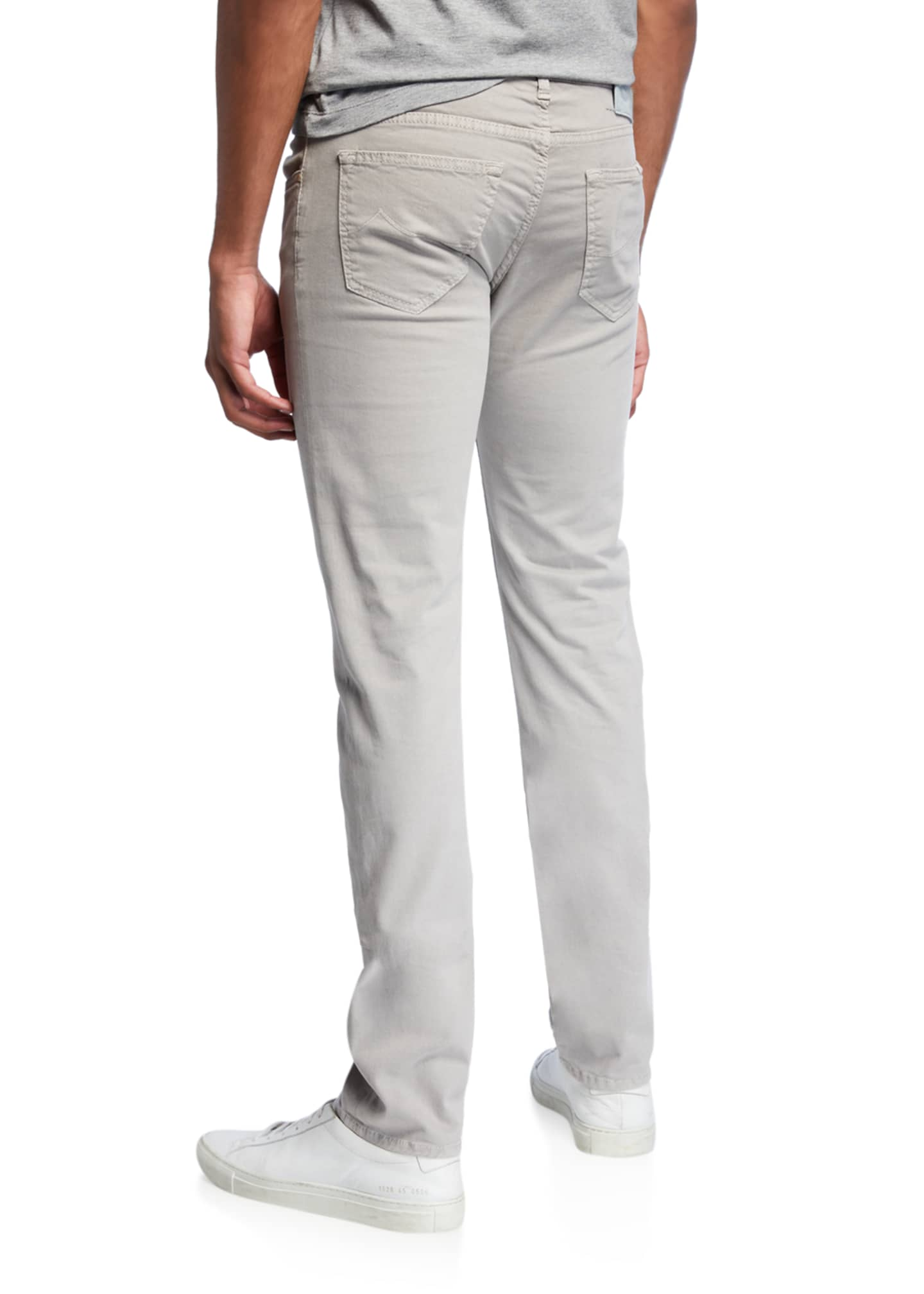 Image 2 of 3: Men's Brushed Denim 5-Pocket Jeans , Light Gray