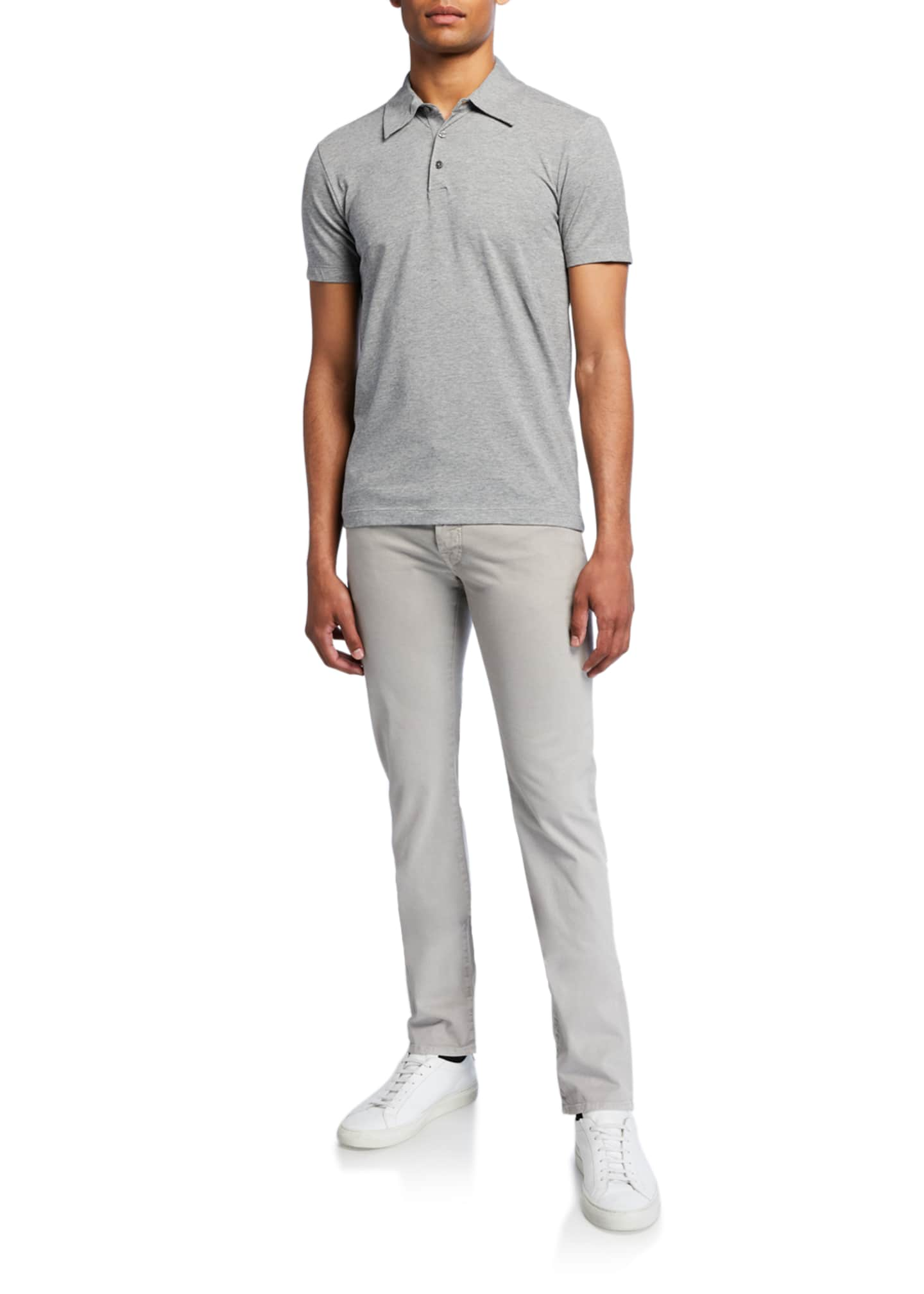 Image 3 of 3: Men's Brushed Denim 5-Pocket Jeans , Light Gray