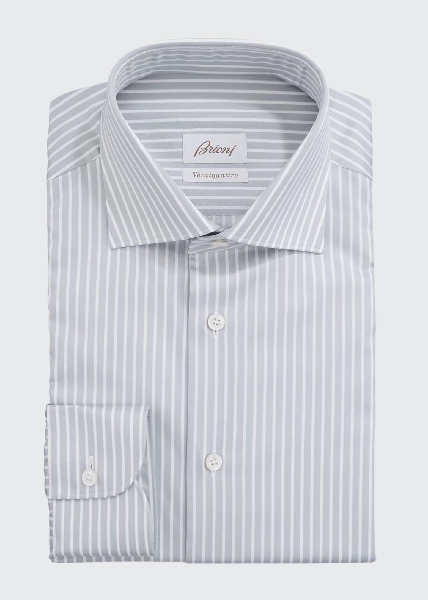 Brioni Men's Ventiquattro Striped Dress Shirt