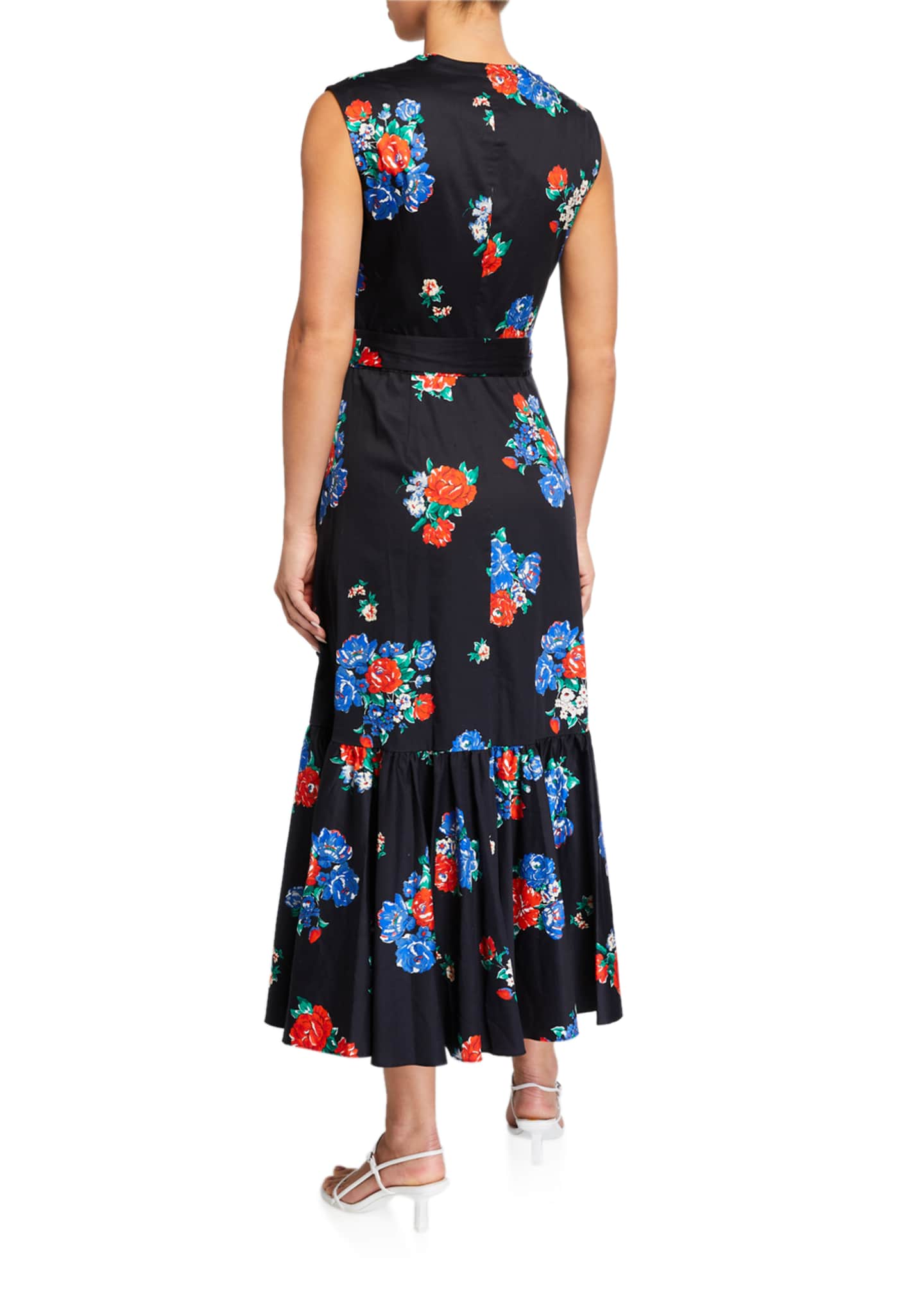 Image 2 of 2: Floral-Print Sleeveless Flounce Wrap Dress