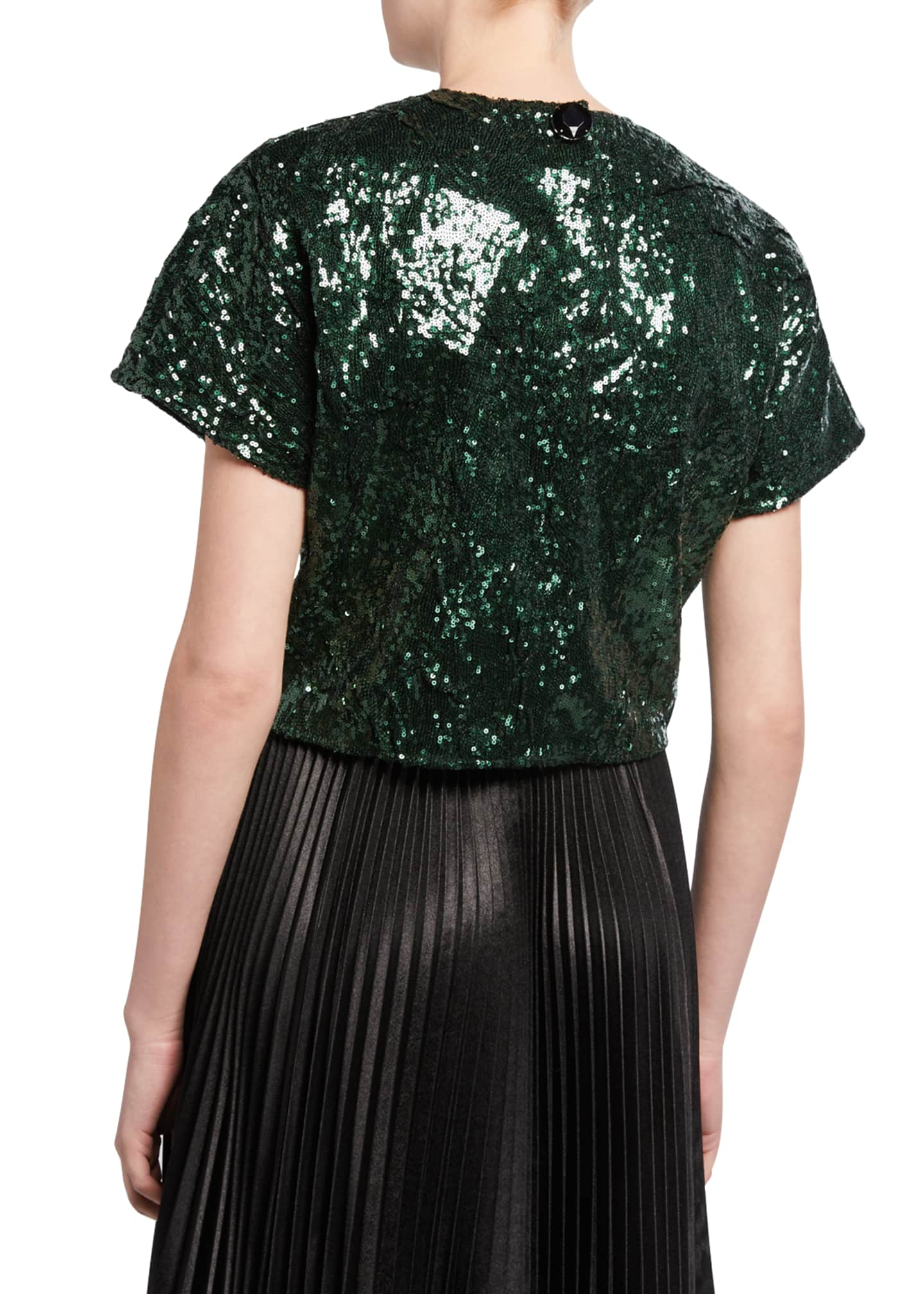 Image 2 of 2: Sequined Cropped Short-Sleeve Top