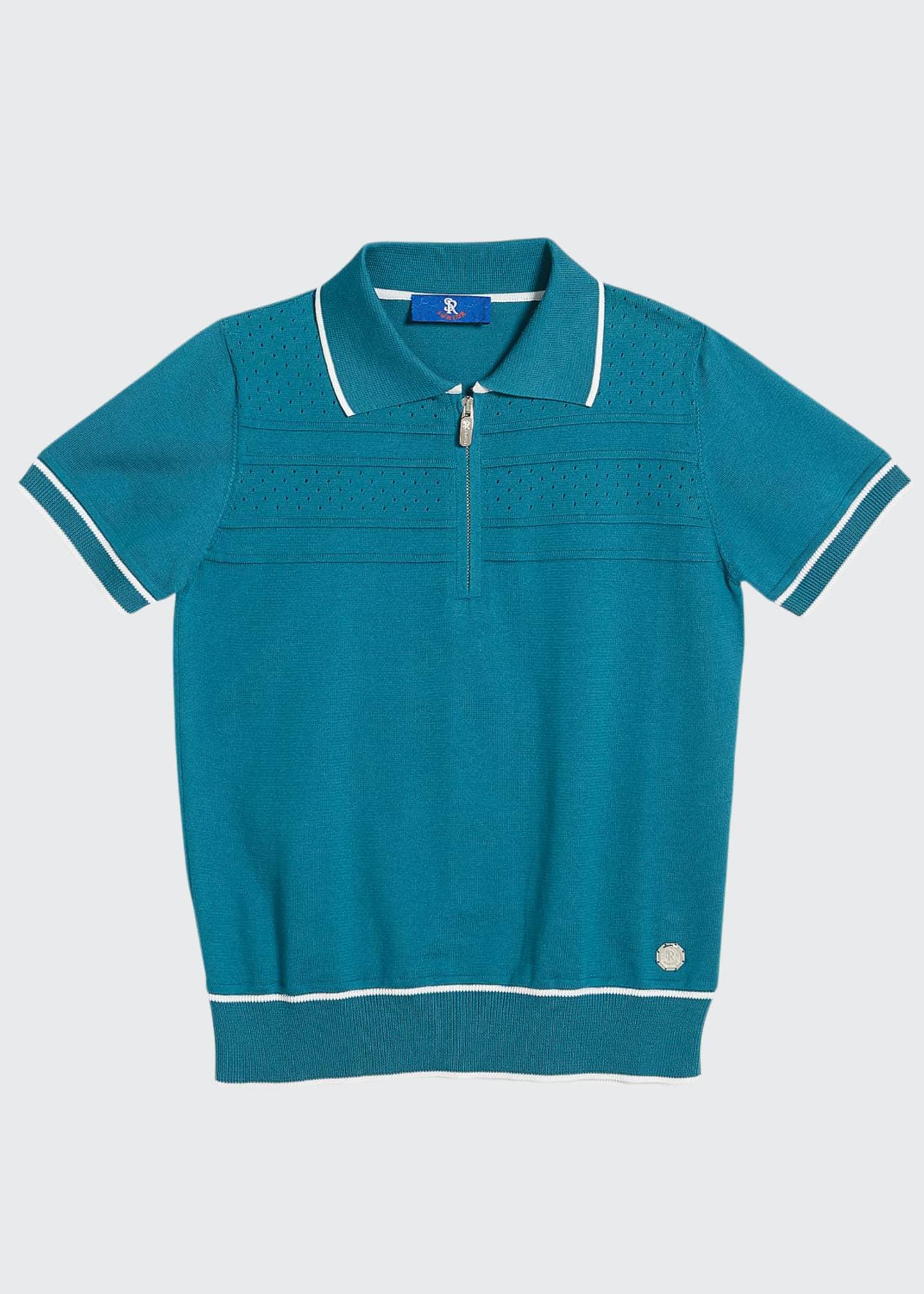 Stefano Ricci Boys' Short-Sleeve Knit Polo Sweater, Size