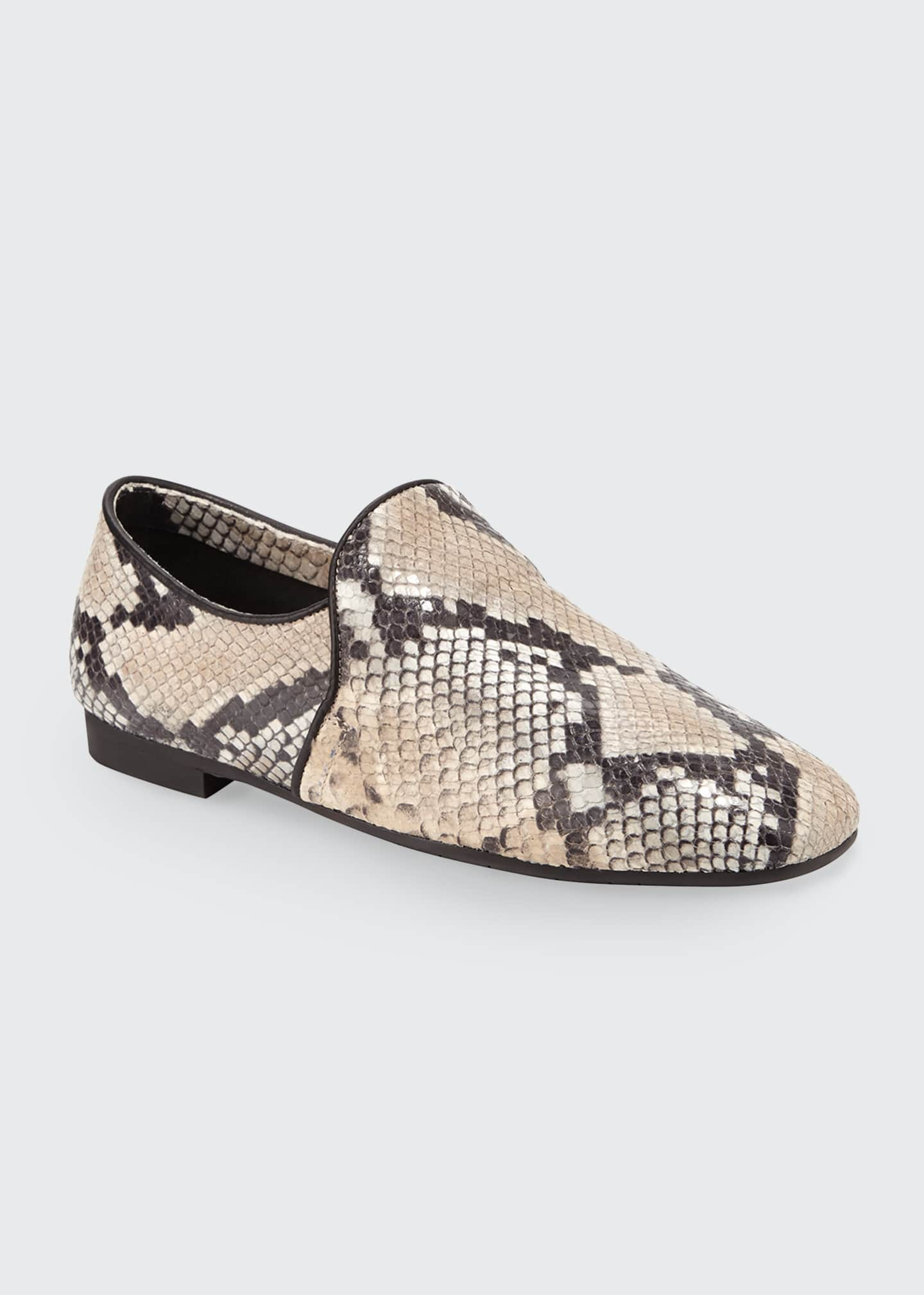Image 1 of 3: Revy Flat Snake-Print Loafers
