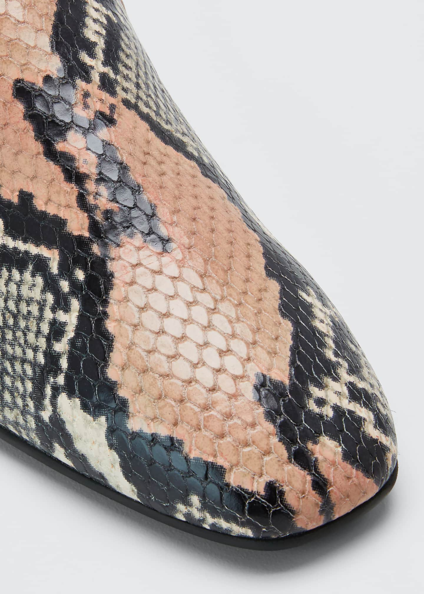 Image 3 of 3: Revy Flat Snake-Print Loafers