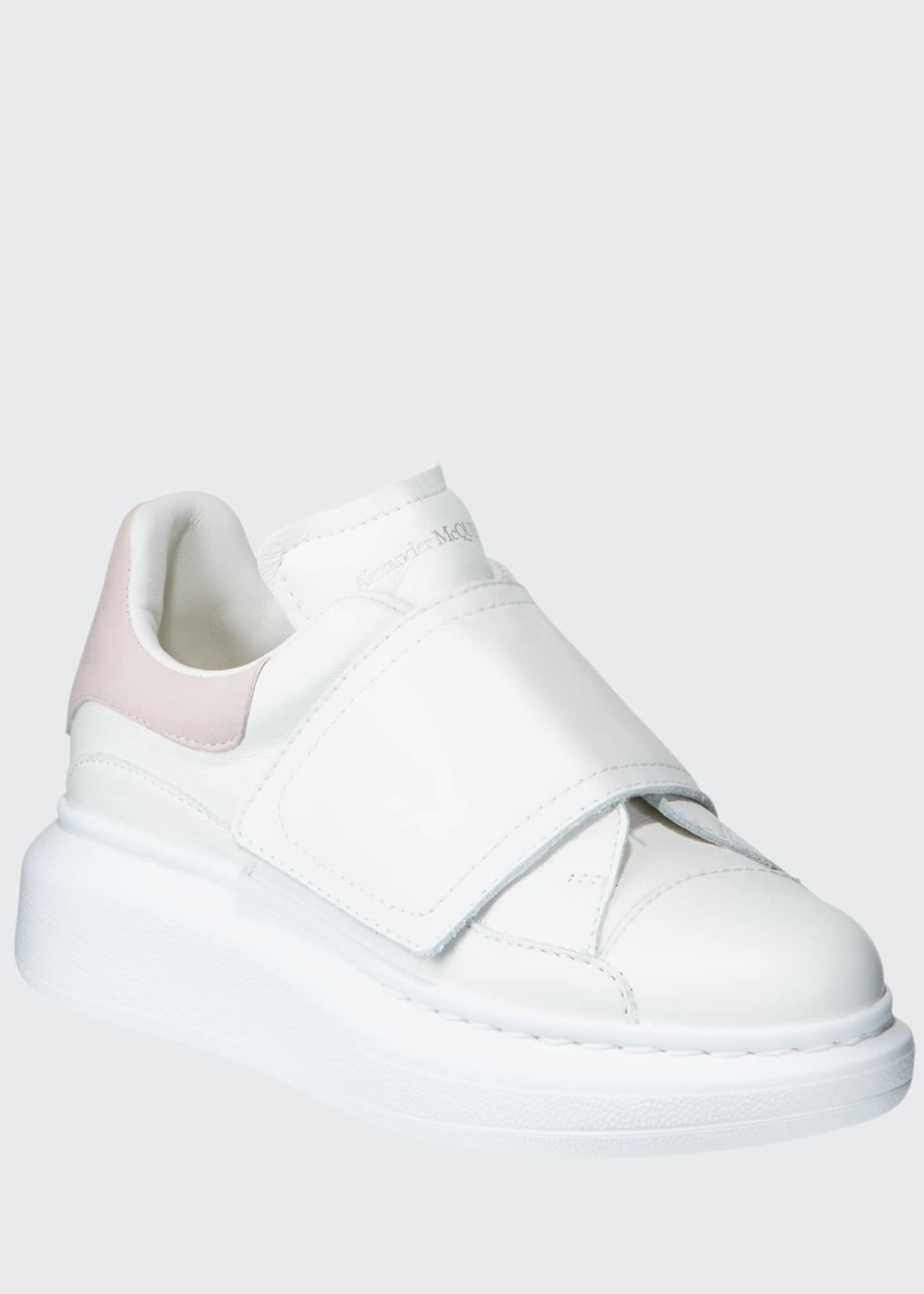various colors official photos wide varieties Alexander McQueen Oversized Grip-Strap Leather Sneakers, Toddler ...