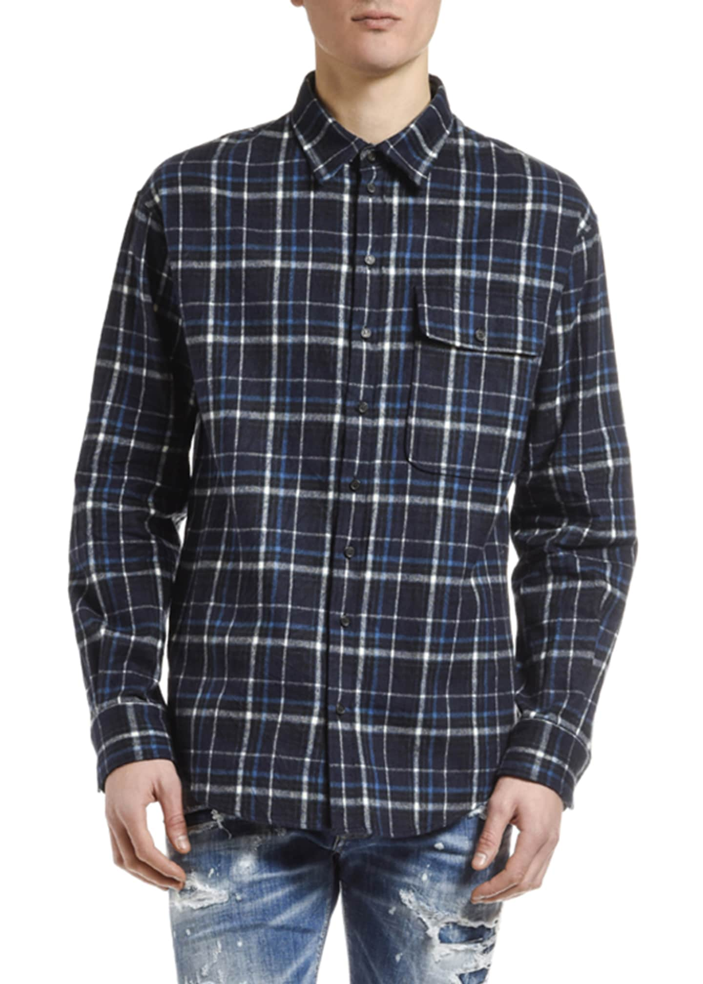 Dsquared2 Men's Plaid Flannel Sport Shirt