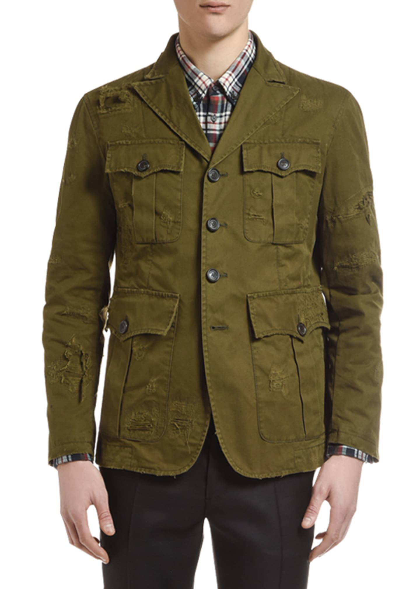 Image 1 of 2: Men's Distressed Chino Field Jacket