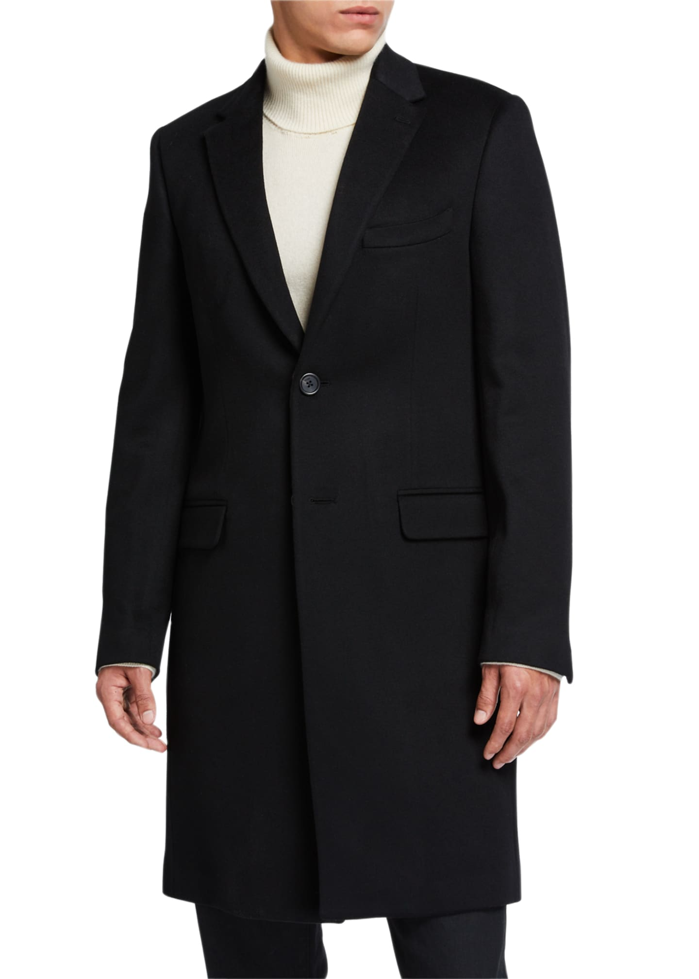 Image 3 of 4: Men's Solid Overcoat w/ FF-Print Fur Collar
