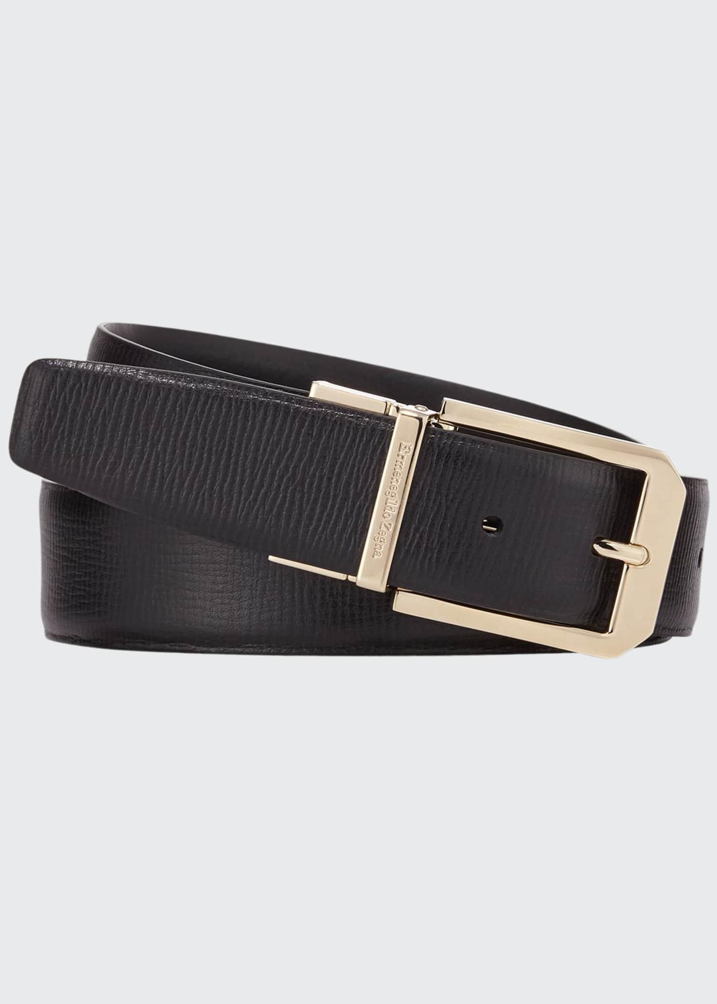 Ermenegildo Zegna Men's Reversible 35mm Square-Buckle Leather