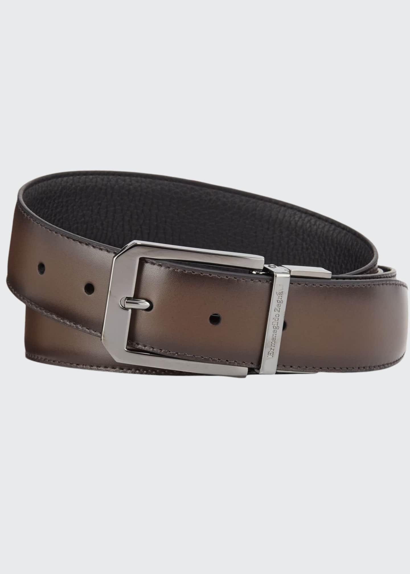 Ermenegildo Zegna Men's Reversible Calf Leather Belt
