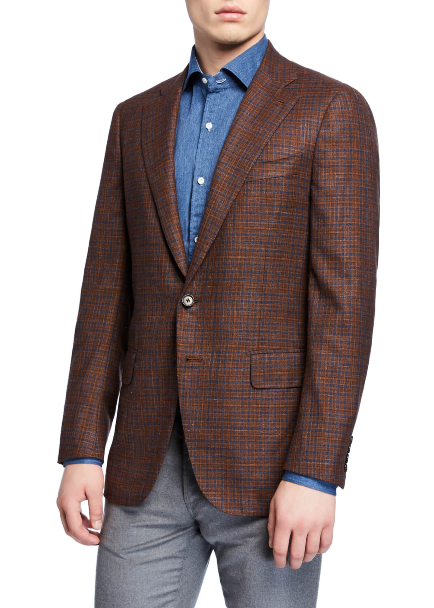 Image 1 of 3: Men's Plaid Wool-Blend Sport Coat