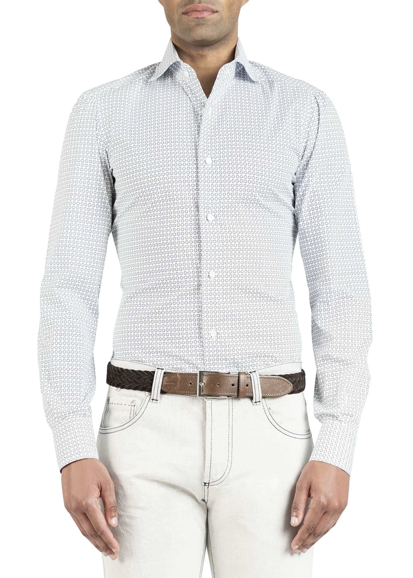 Image 1 of 4: Men's Oval-Pattern Dress Shirt