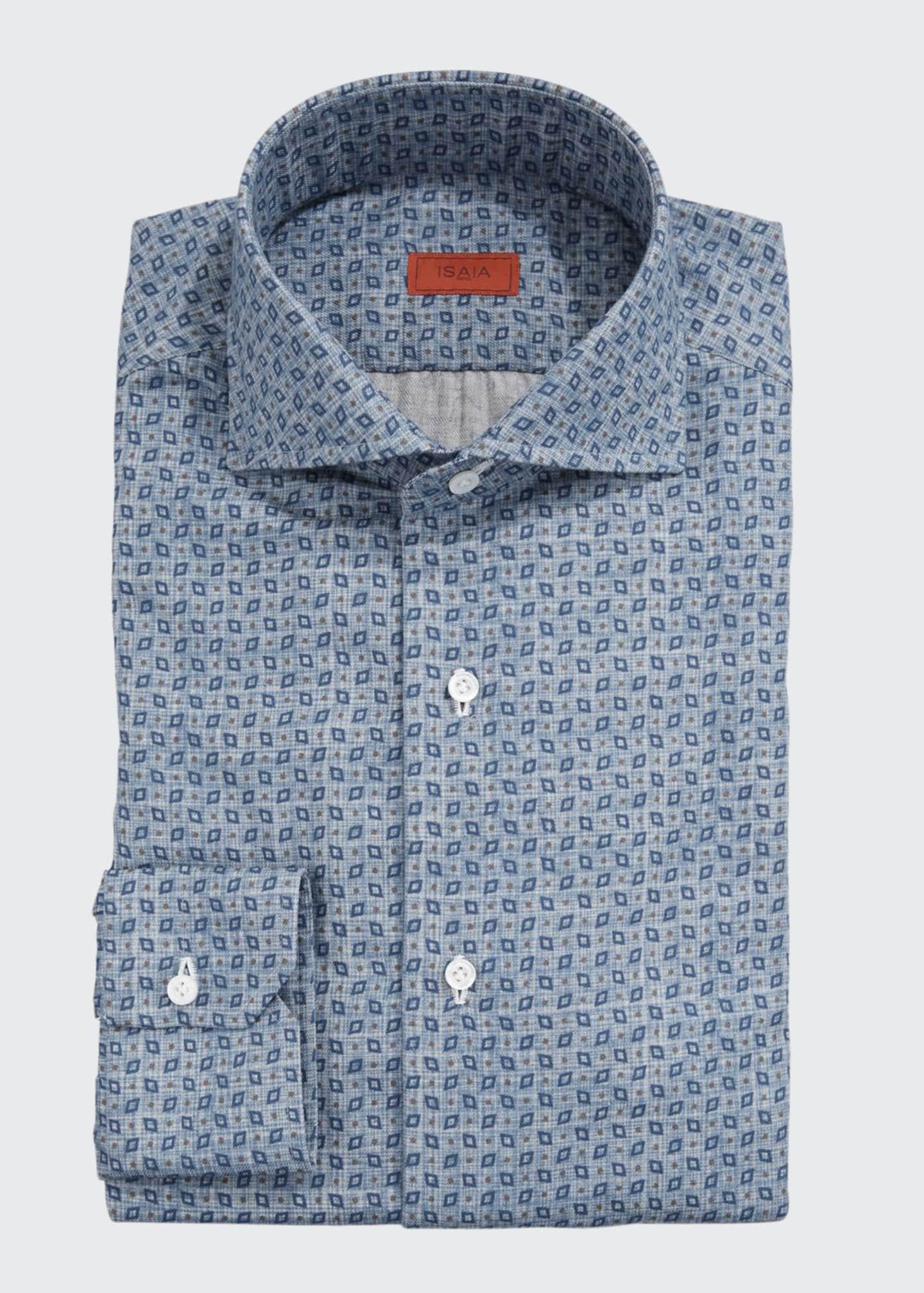 Isaia Men's Geometric-Print Dress Shirt