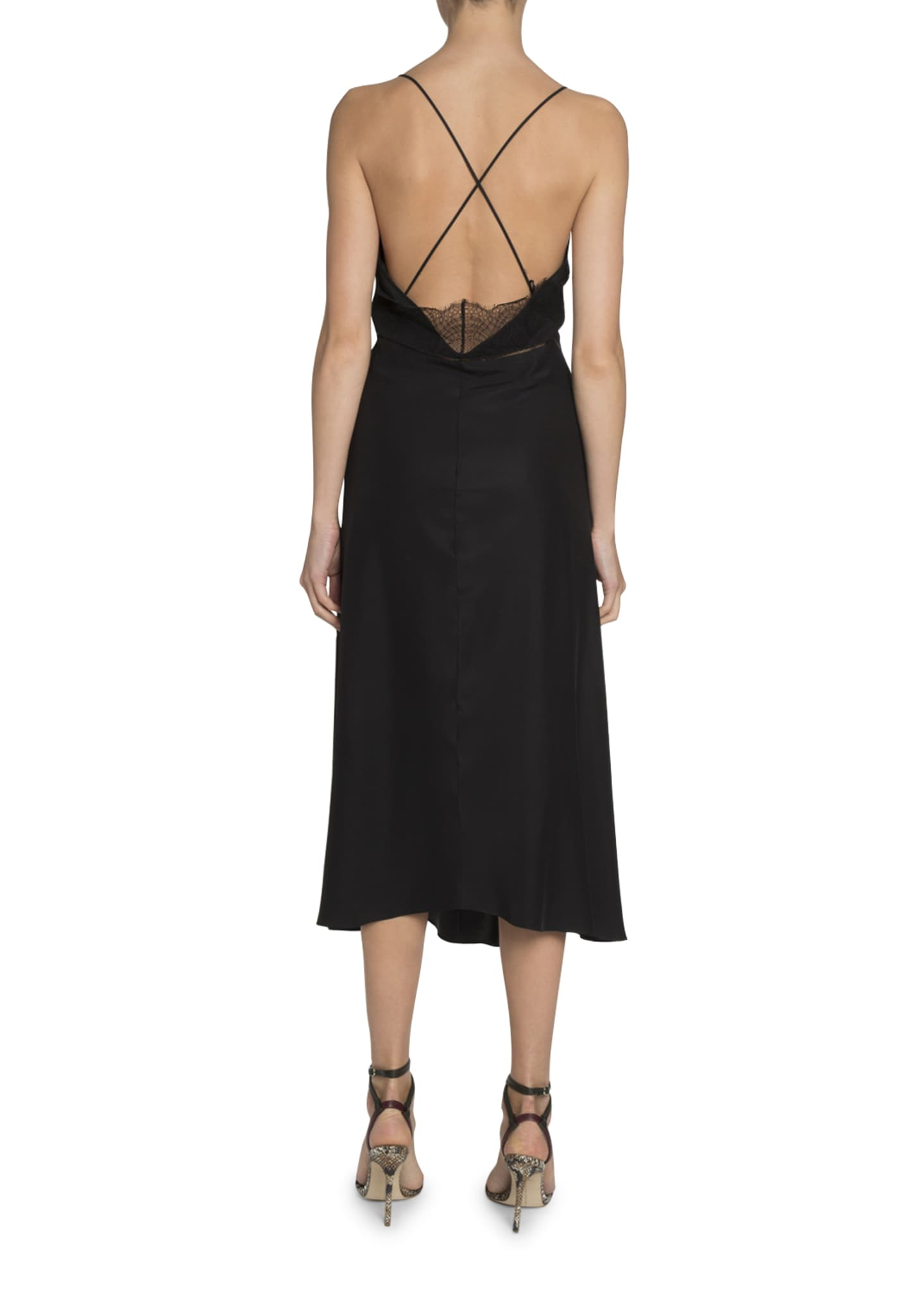 Image 2 of 2: Lace-Trim V-Neck Midi Dress