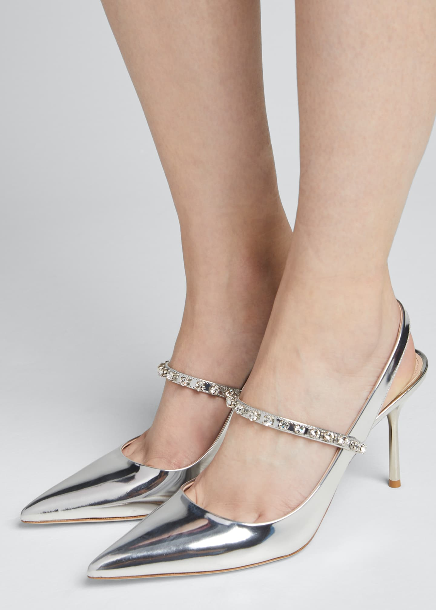 Image 2 of 5: Pointed Metallic Crystal Pumps