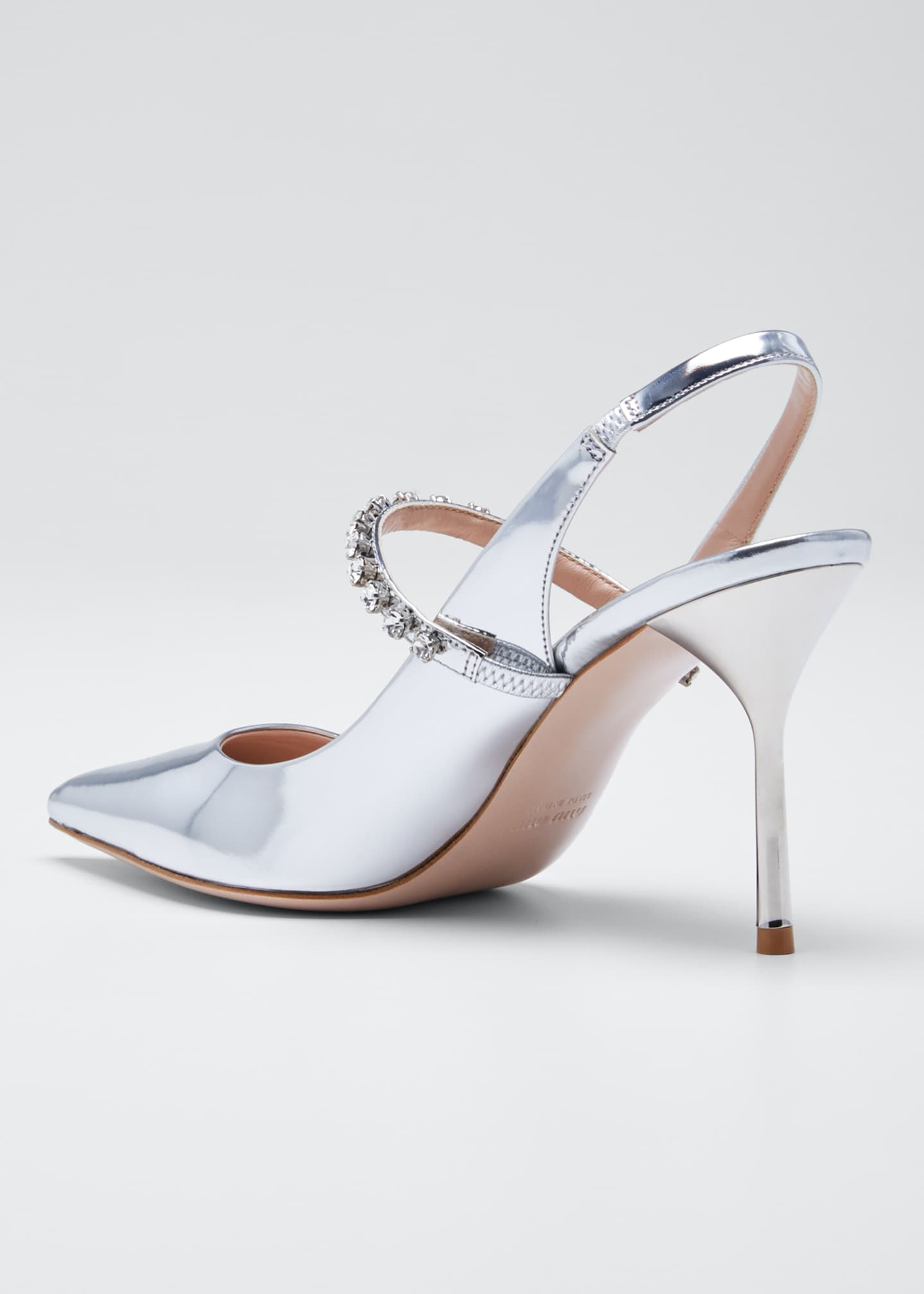 Image 4 of 5: Pointed Metallic Crystal Pumps