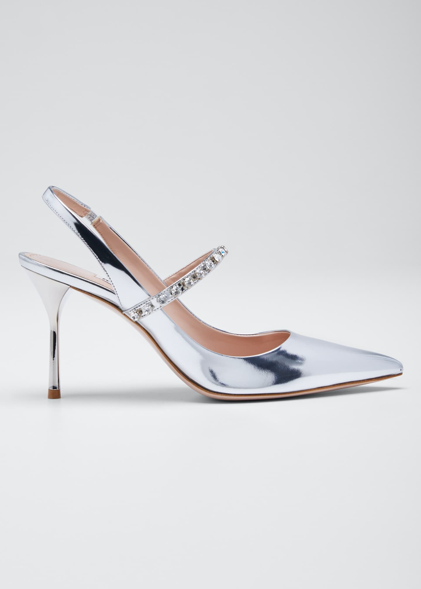 Miu Miu Pointed Metallic Crystal Pumps