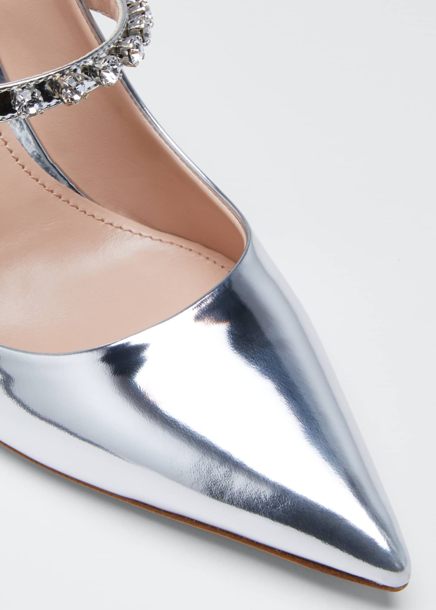 Image 5 of 5: Pointed Metallic Crystal Pumps