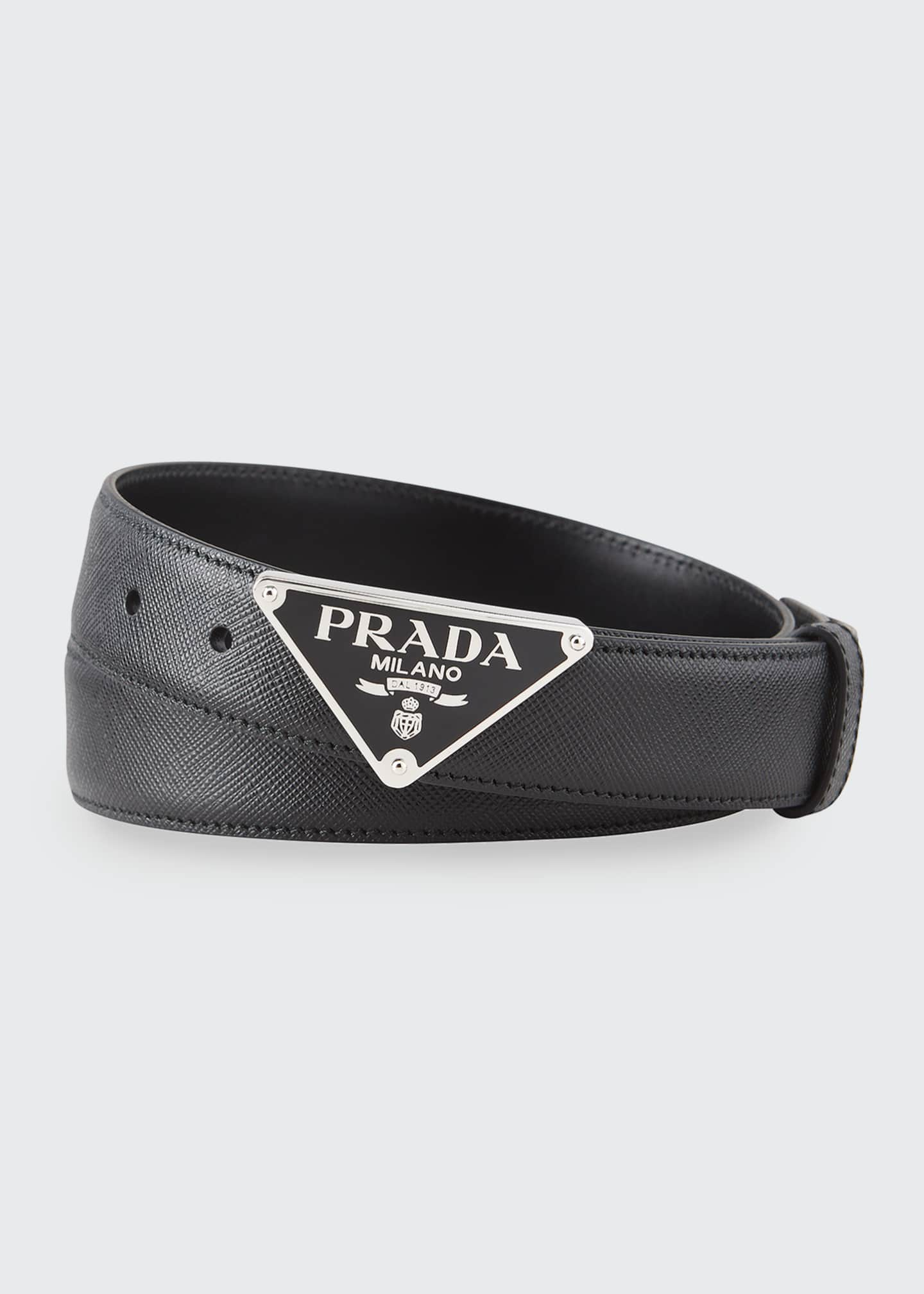 Image 1 of 1: Men's Triangle Logo Leather Belt