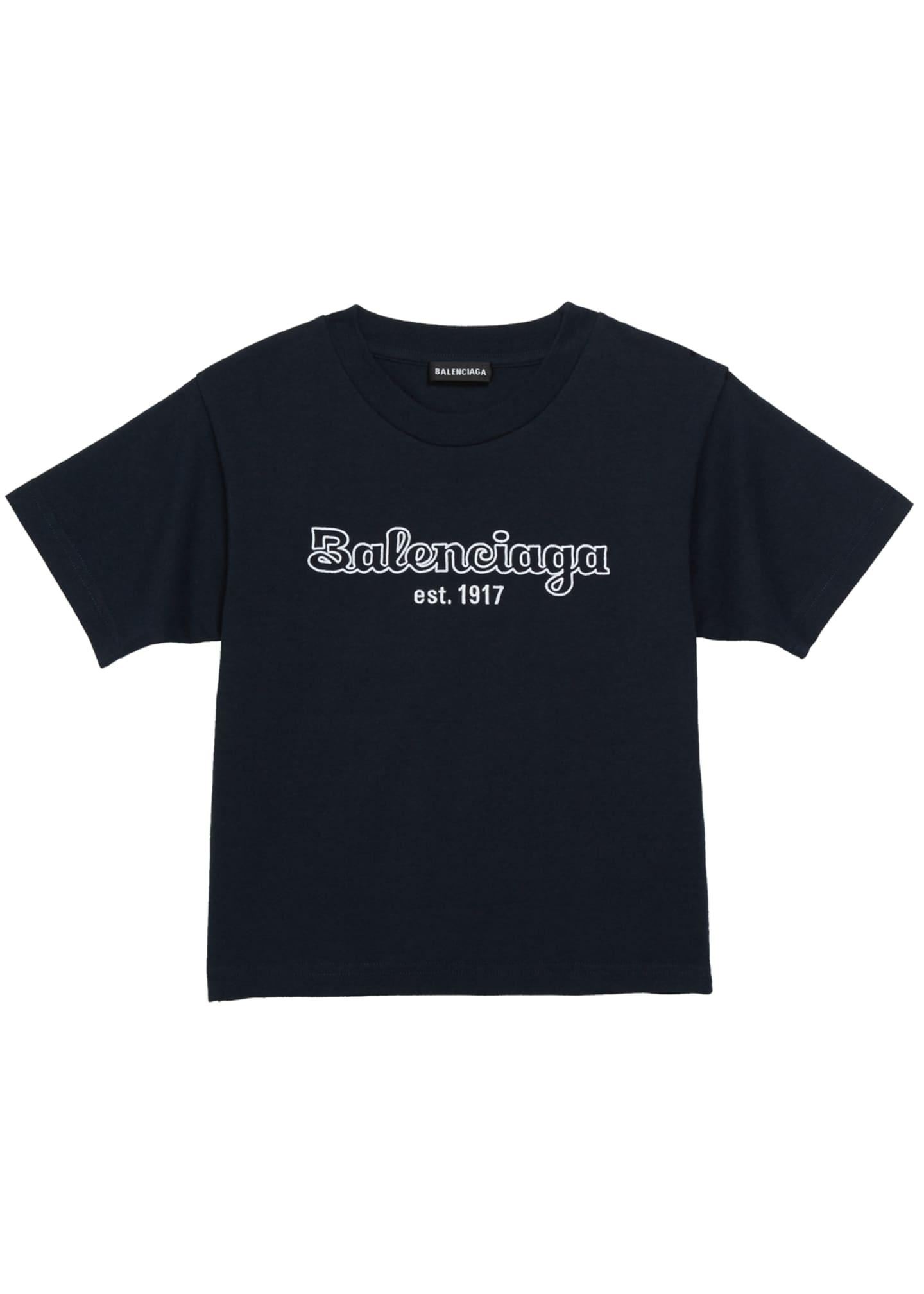 Balenciaga Kid's Bubble Script Logo Short-Sleeve T-Shirt, Size
