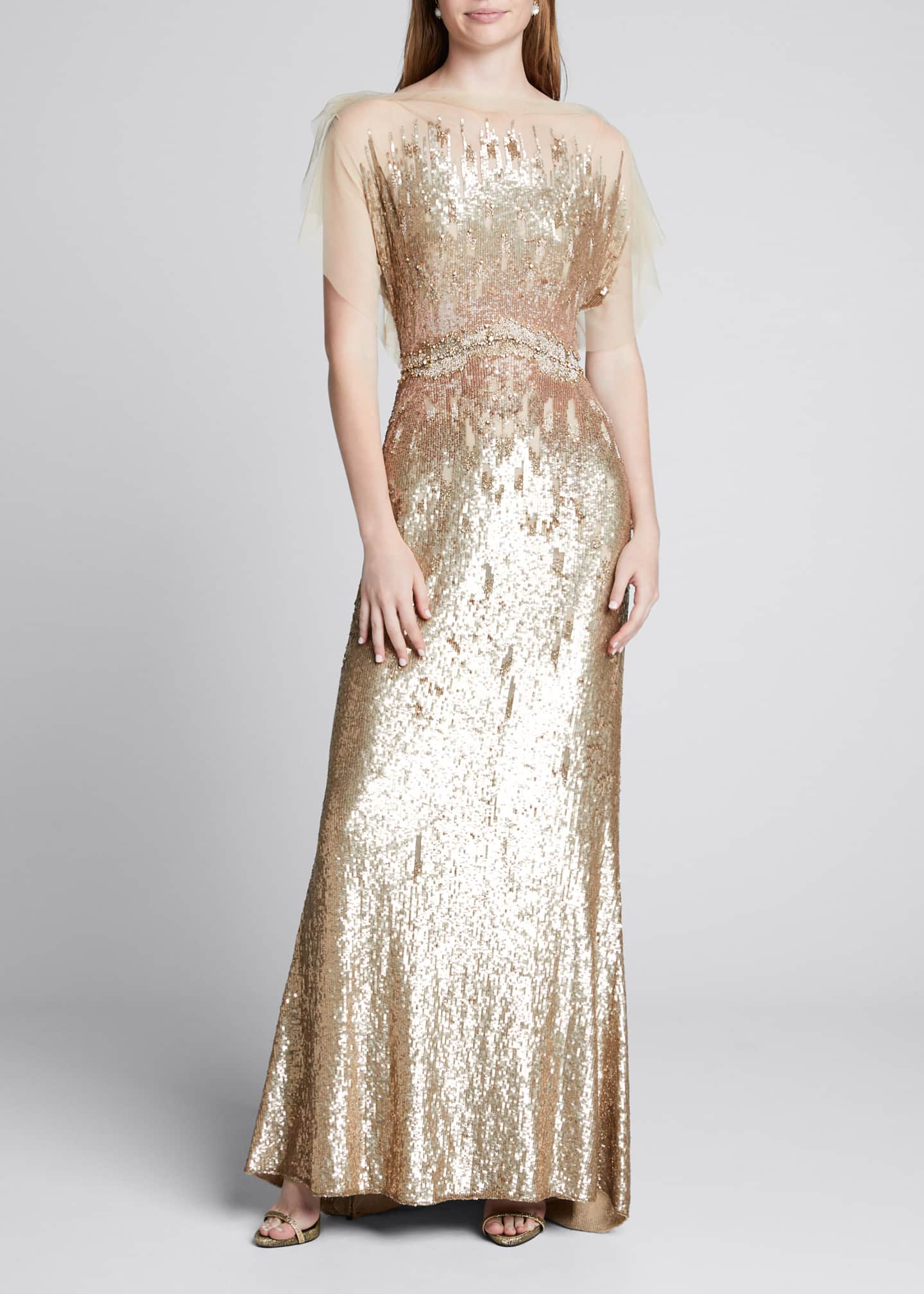 Jenny Packham Tulle-Top Sleeveless Duchess Gown
