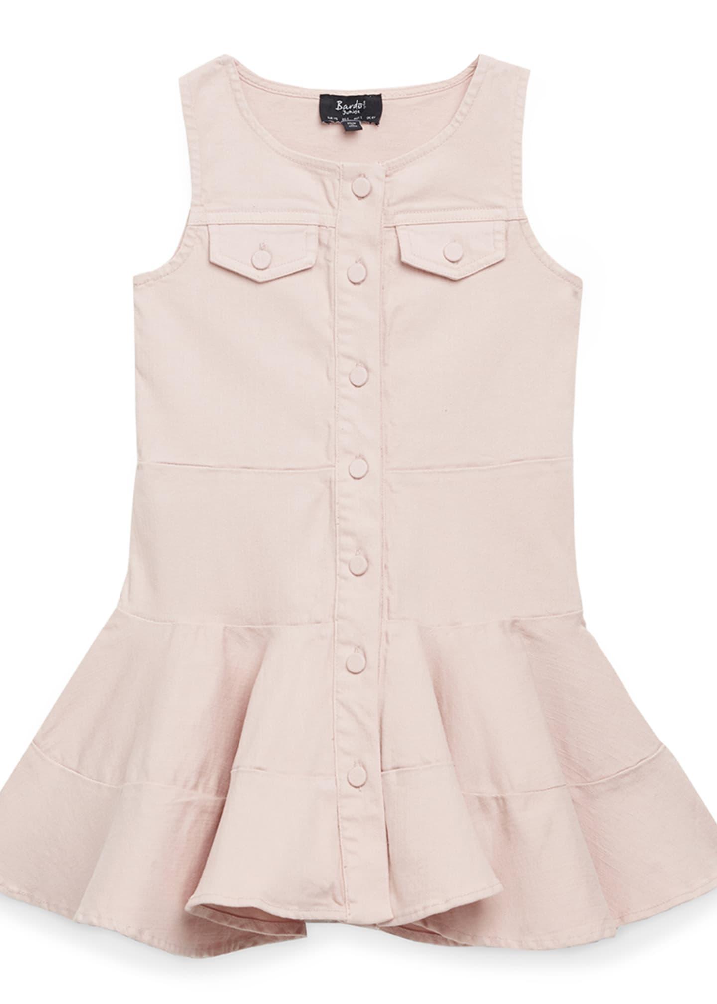Bardot Junior Alice Button-Front Colored Denim Dress, Size