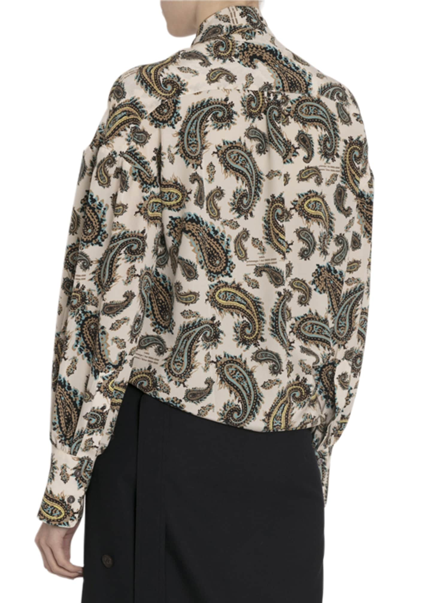 Image 2 of 3: Paisley Silk Tie-Neck Blouse