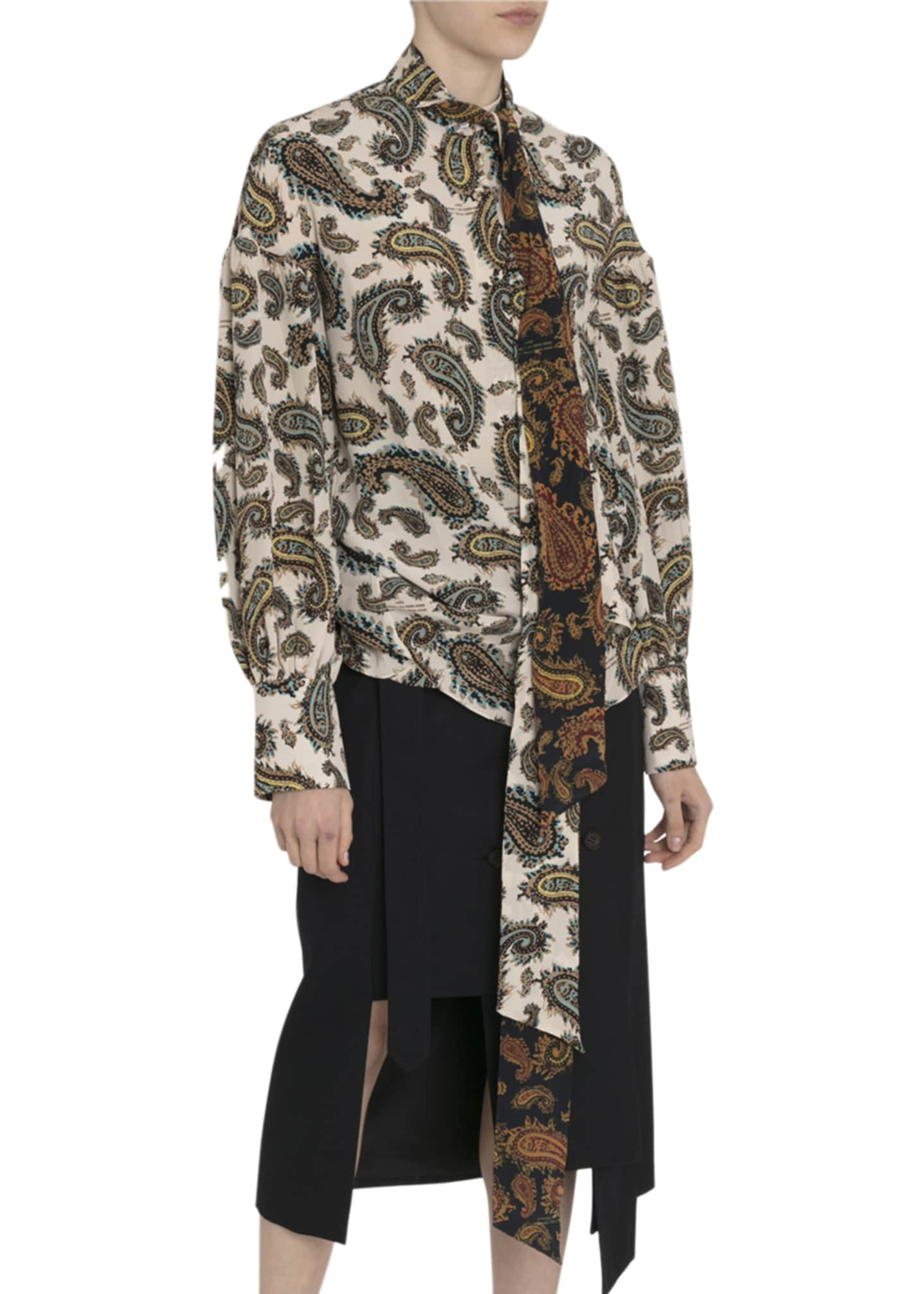 Image 3 of 3: Paisley Silk Tie-Neck Blouse