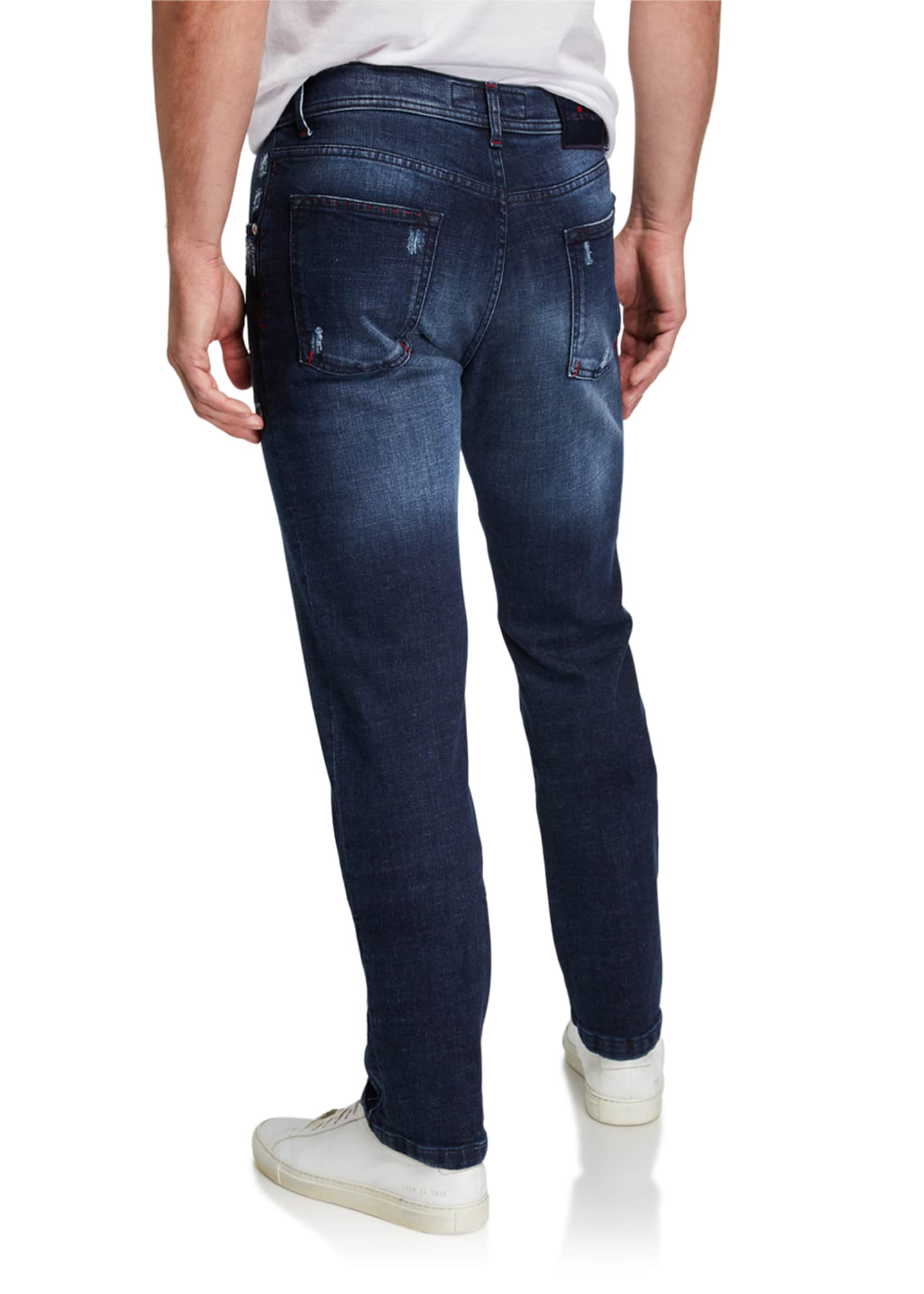 Image 2 of 3: Men's Distressed Overstitch Jeans