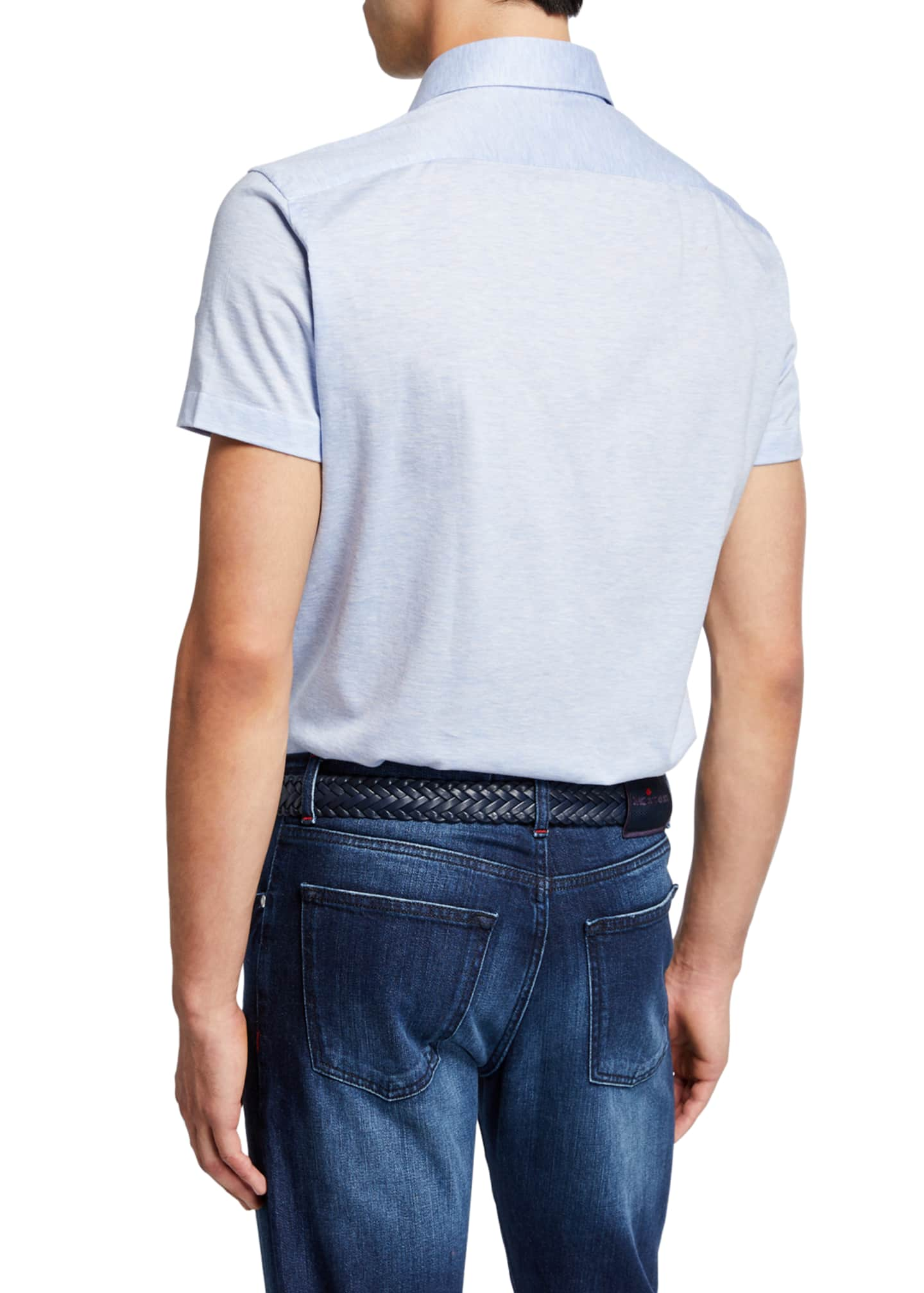 Image 2 of 2: Men's Jersey Cotton Polo Shirt, Light Blue