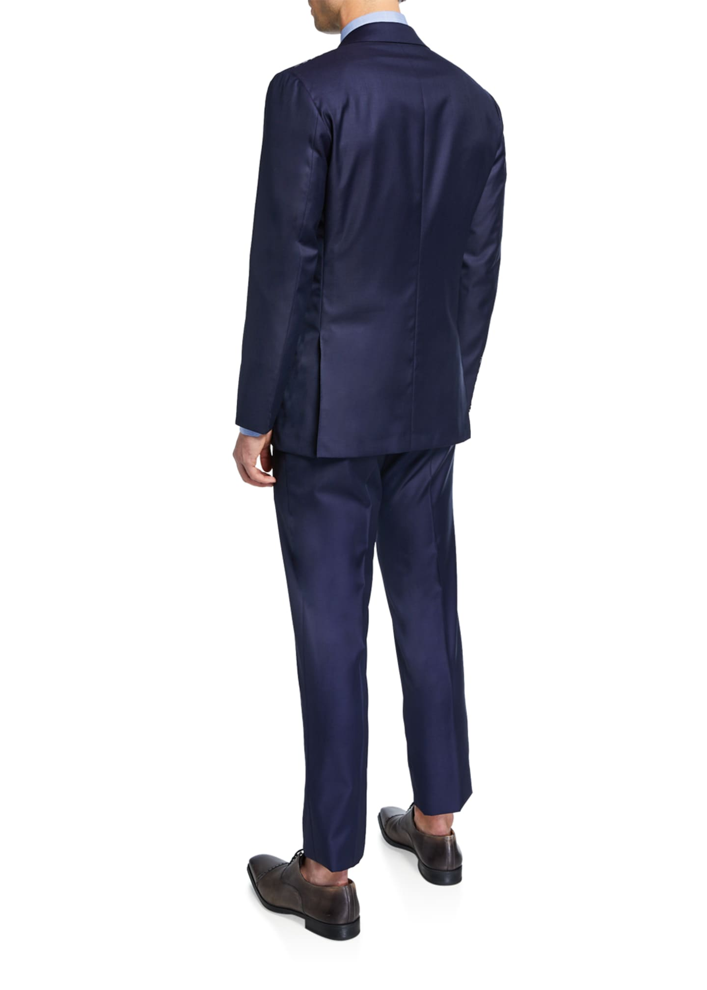 Image 3 of 4: Men's Solid Sharkskin Wool Two-Piece Suit