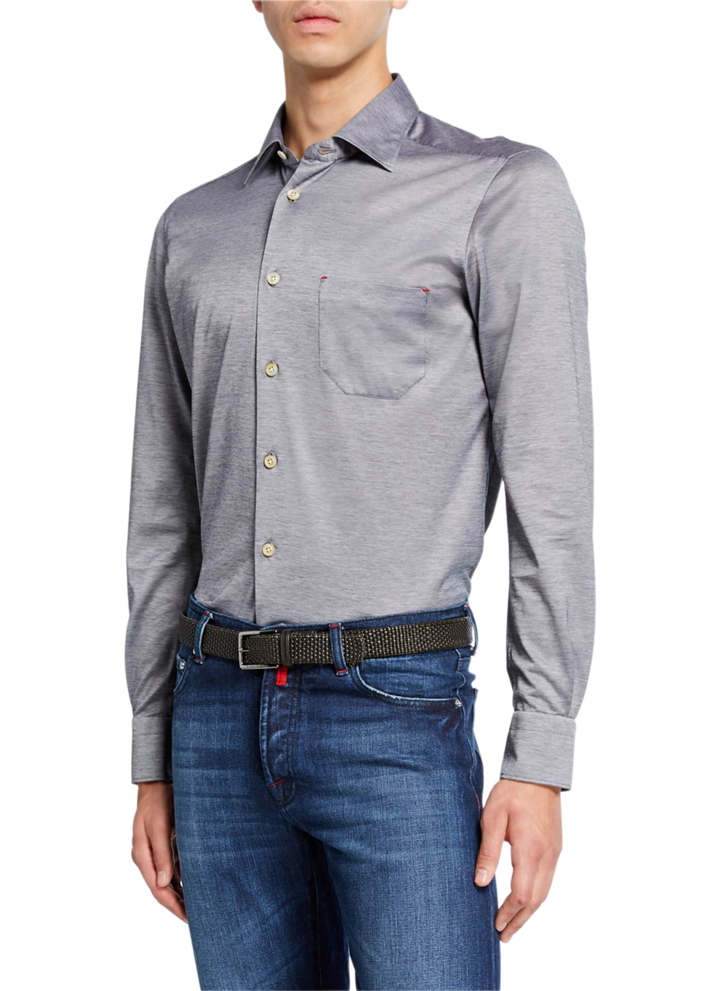 Kiton Men's Jersey Cotton Shirt, Gray