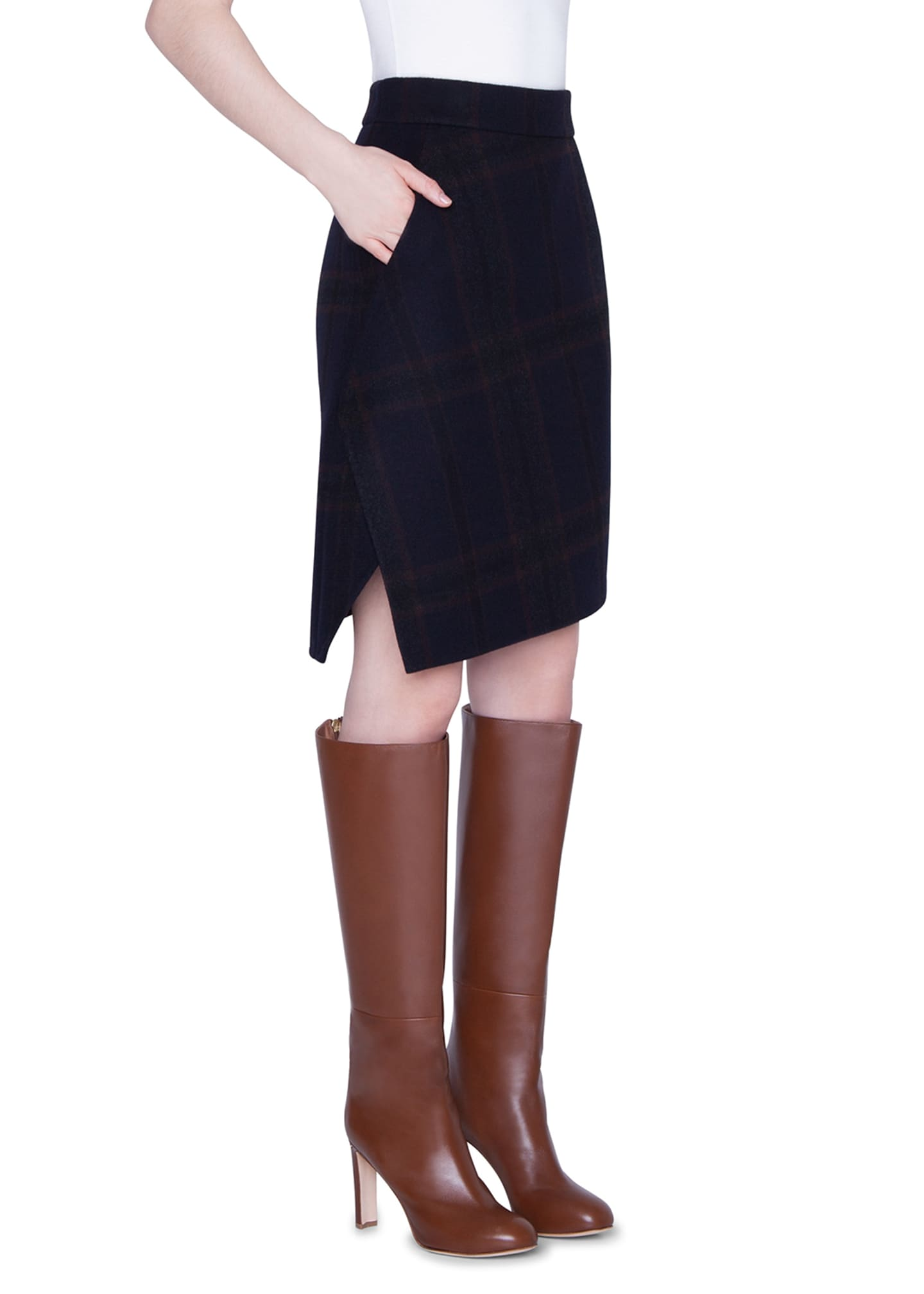 Image 3 of 3: Cashmere Plaid Double-Face Skirt