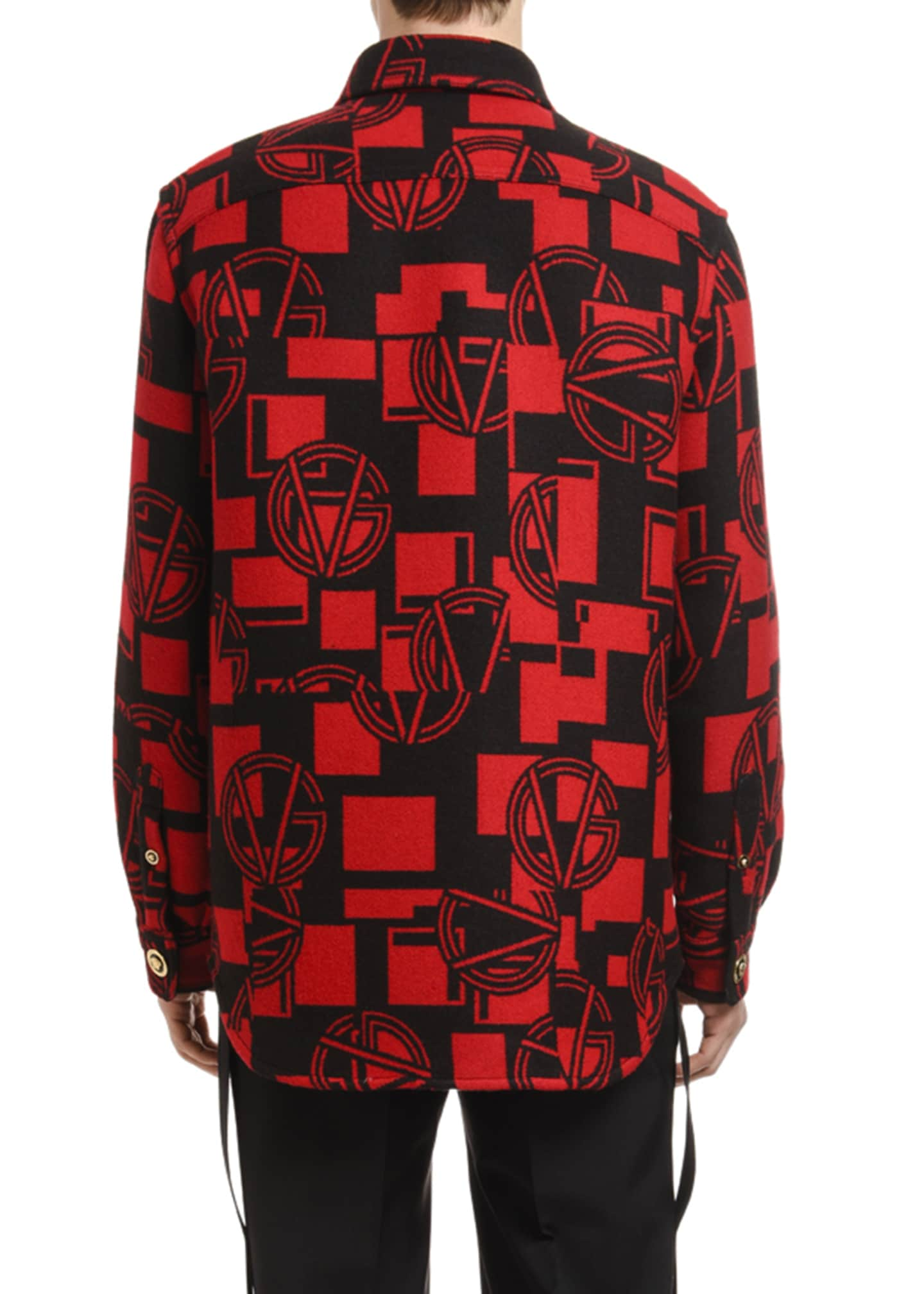 Image 2 of 3: Men's GV Logo Medusa-Button Shirt Jacket