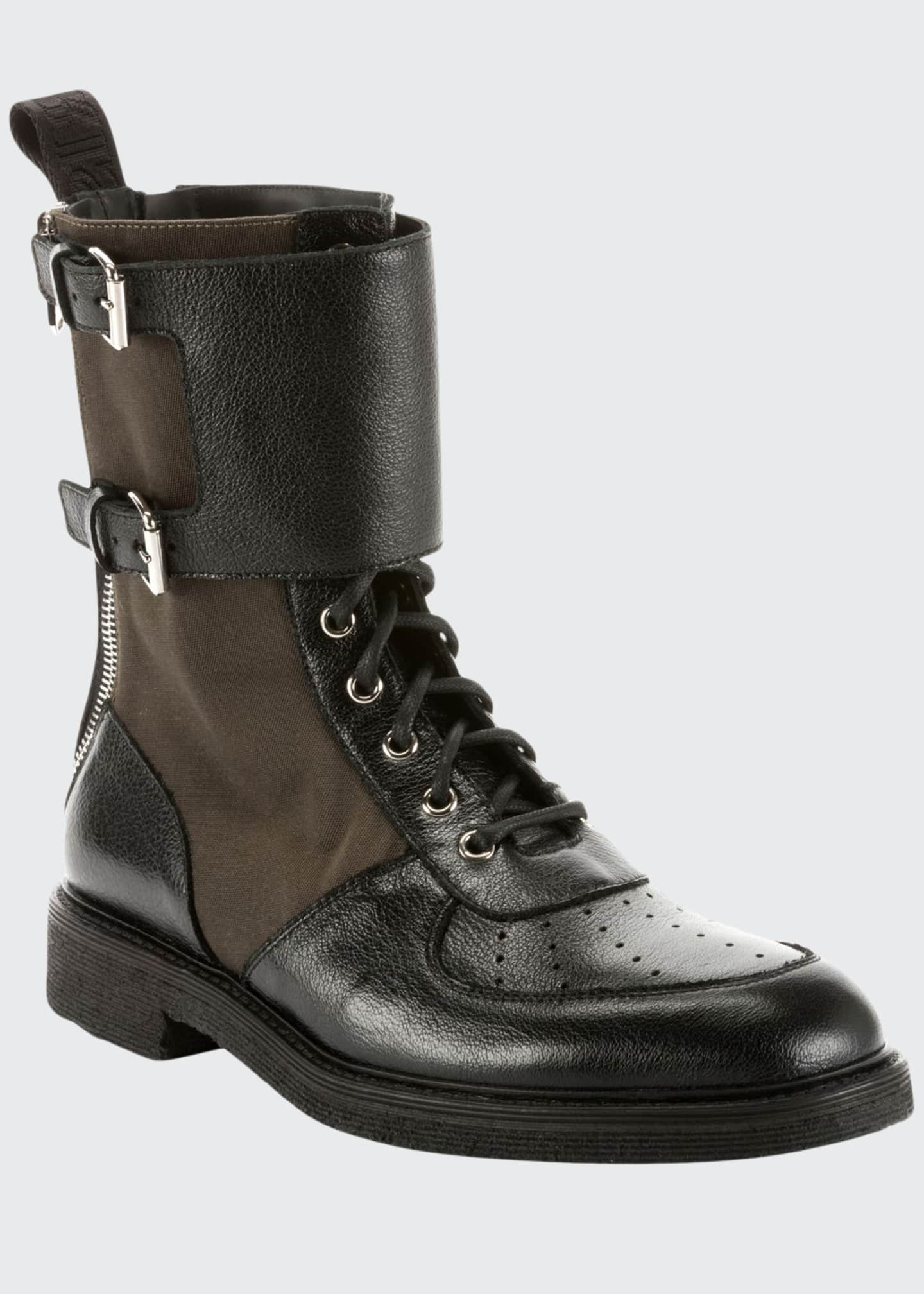 Balmain Buffalo Leather & Nylon Combat Boots